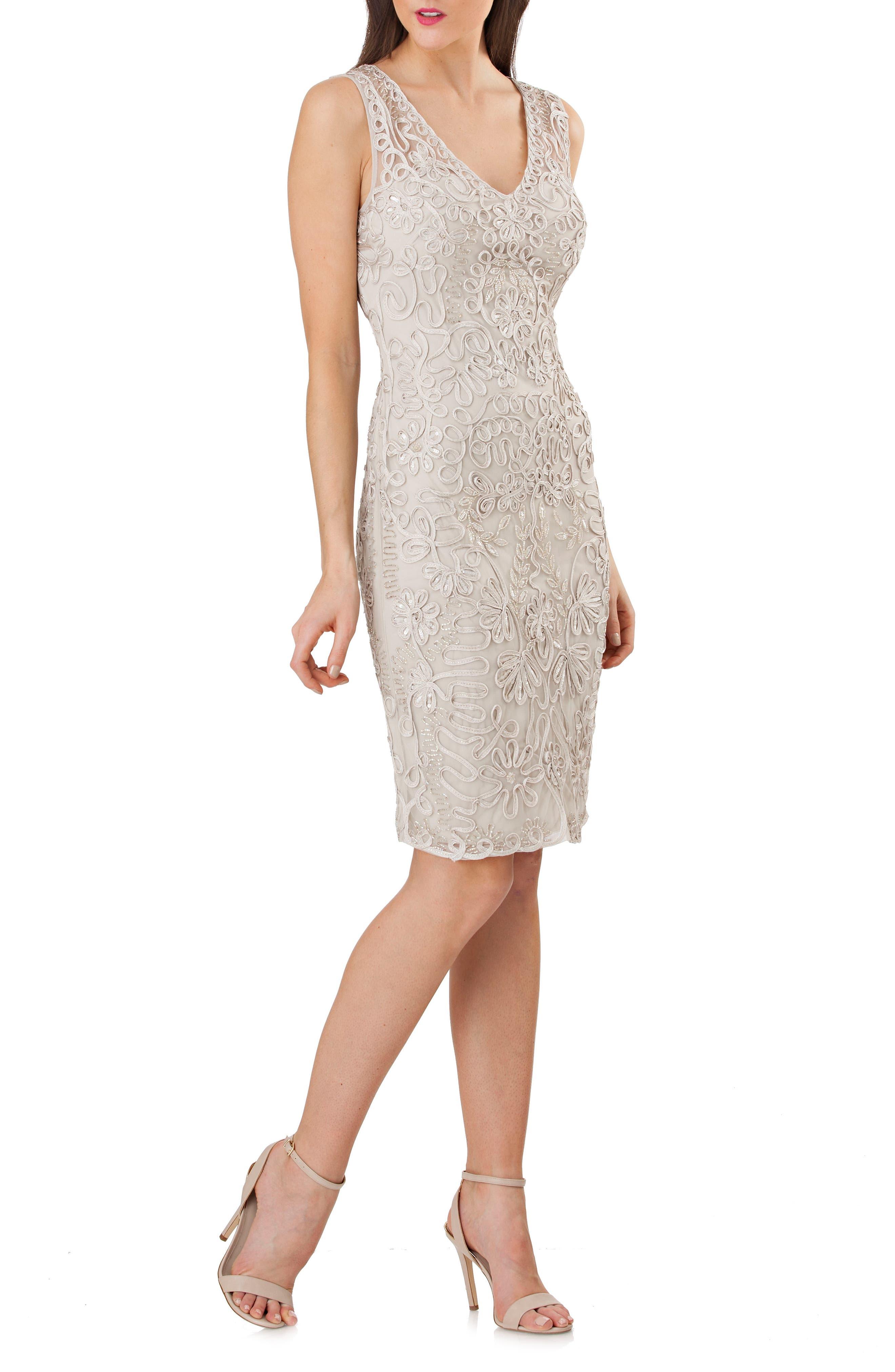Soutache Bolero Sheath Dress,                             Alternate thumbnail 3, color,                             050