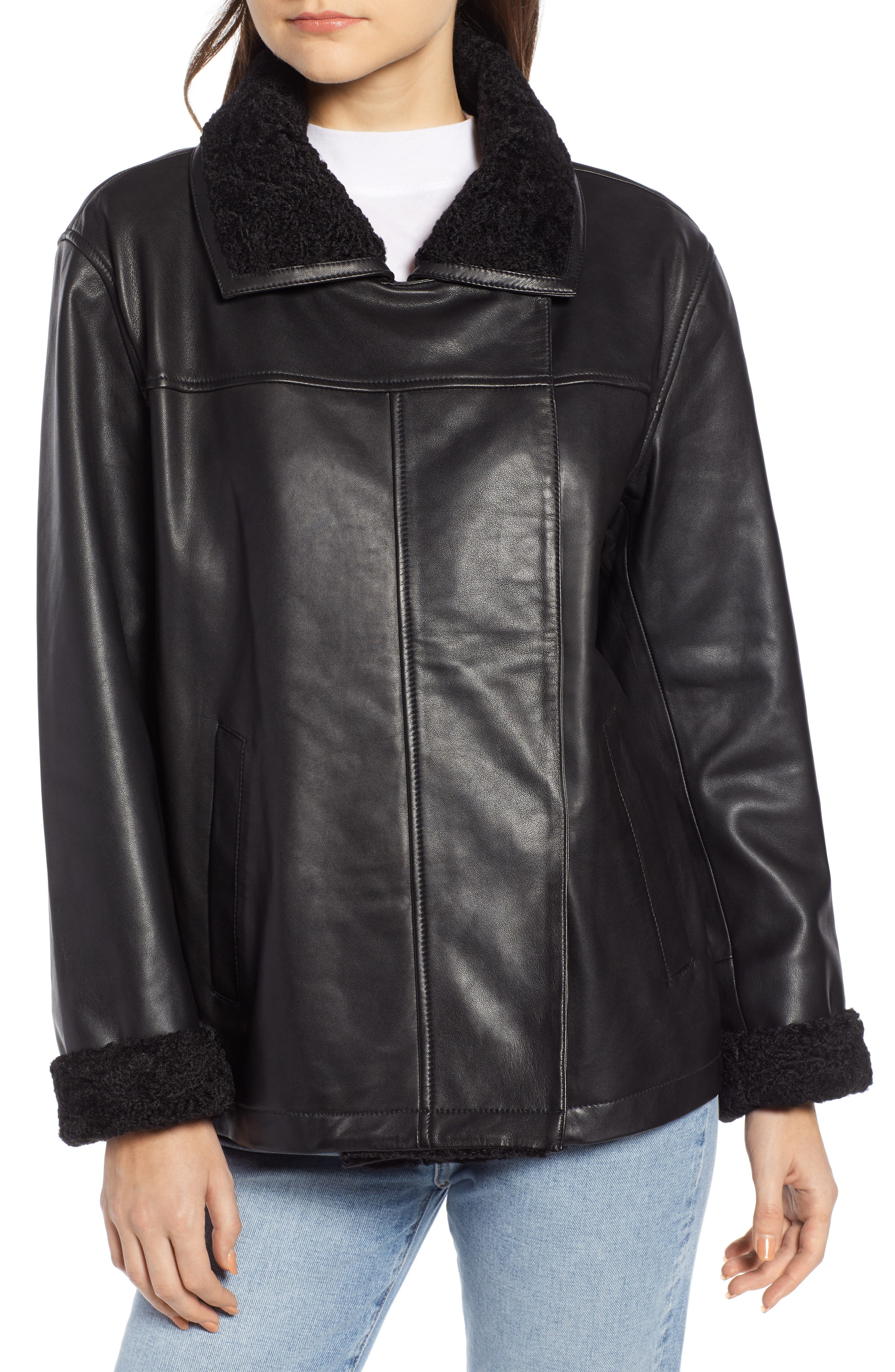 SOMETHING NAVY,                             Aviator Leather Jacket,                             Alternate thumbnail 4, color,                             001