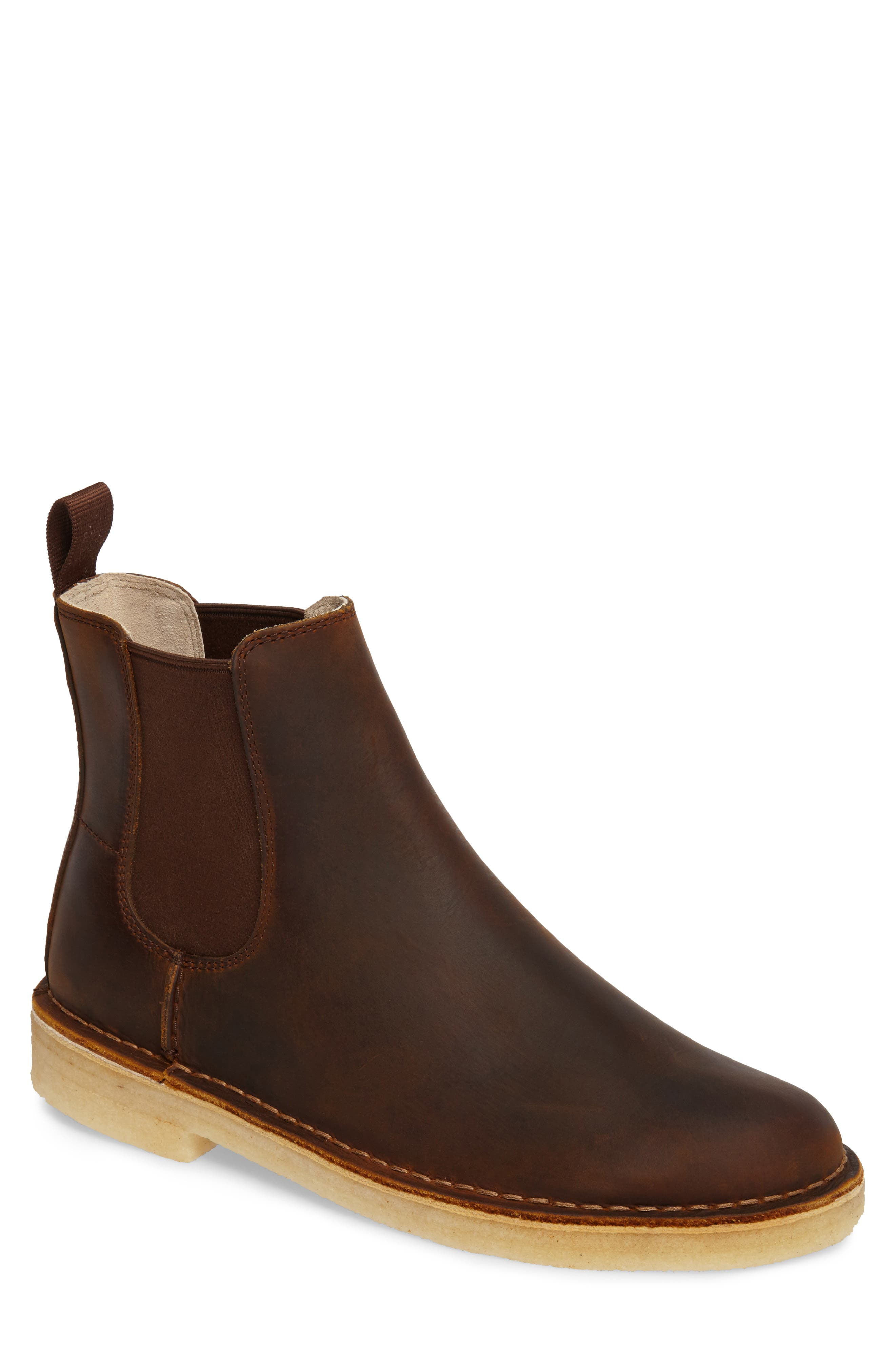 CLARKS<SUP>®</SUP>,                             Desert Peak Chelsea Boot,                             Main thumbnail 1, color,                             MEDIUM BROWN BEESWAX LEATHER