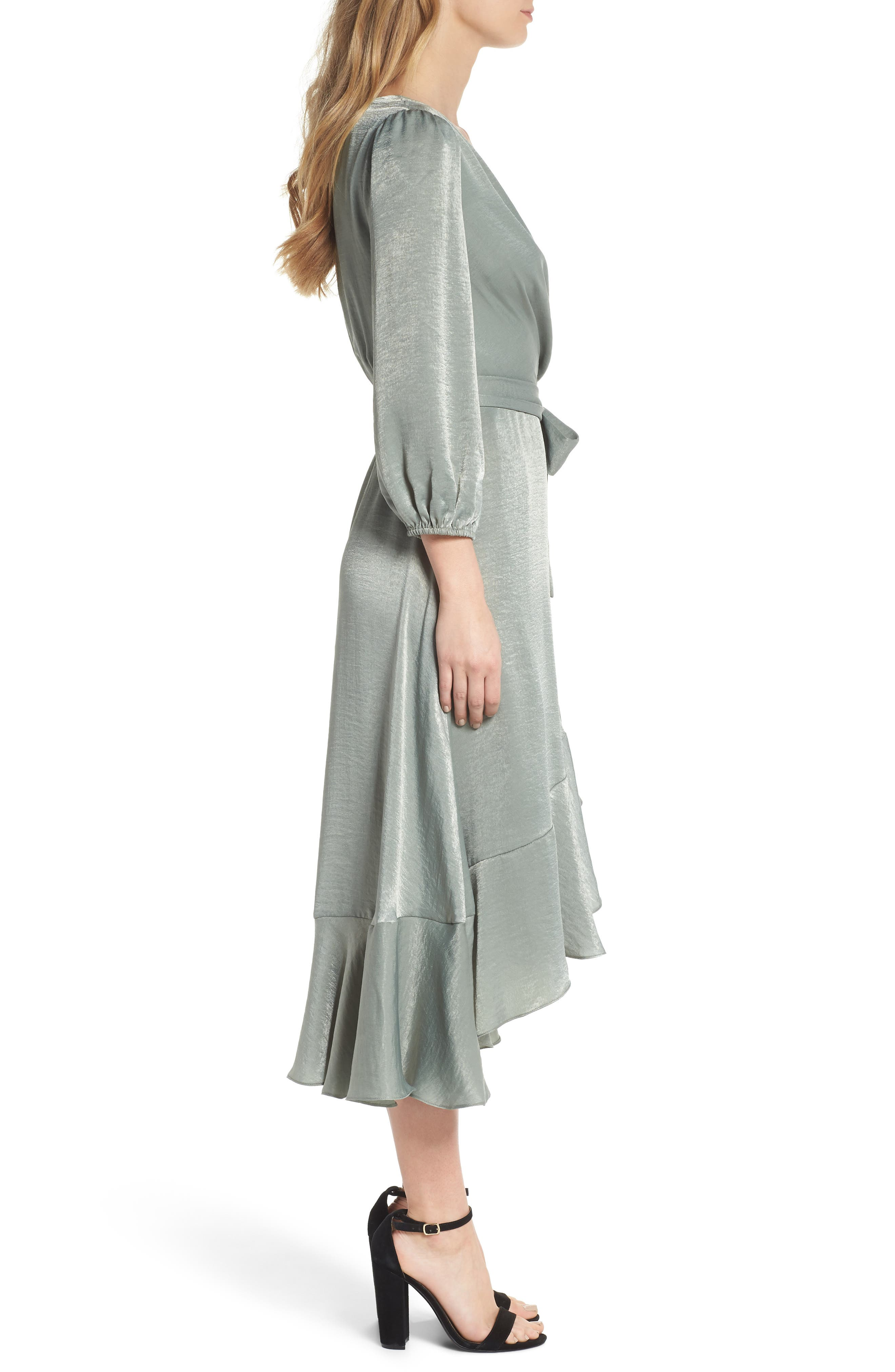 Jennifer Shimmer Satin Wrap Dress,                             Alternate thumbnail 3, color,                             321