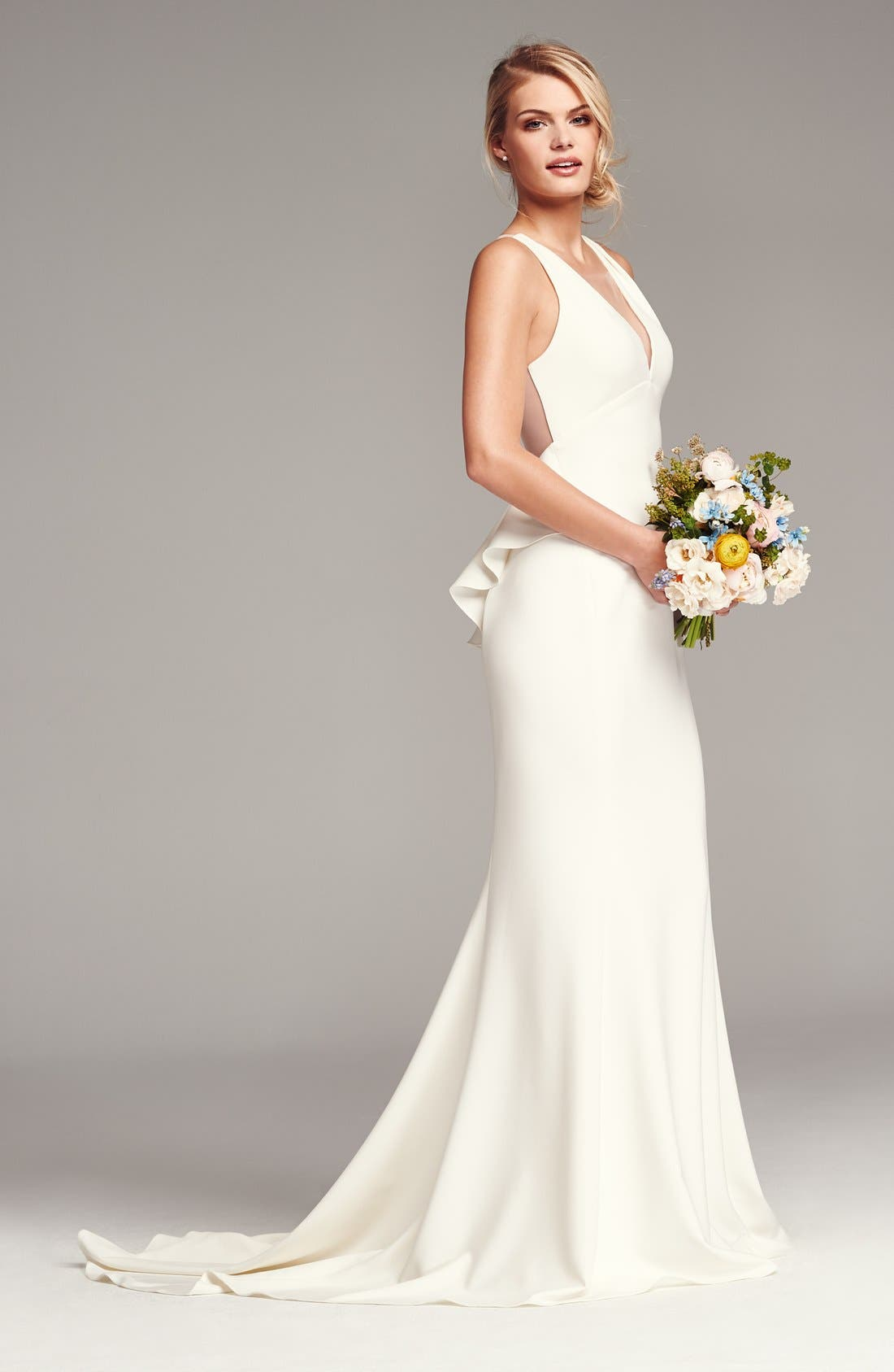 Back Detail Flared Silk Crepe Gown,                             Alternate thumbnail 4, color,                             IVORY