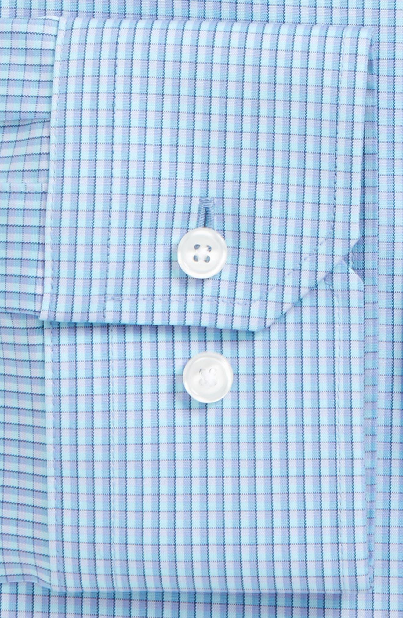 Trim Fit Stretch Non-Iron Check Dress Shirt,                             Alternate thumbnail 2, color,