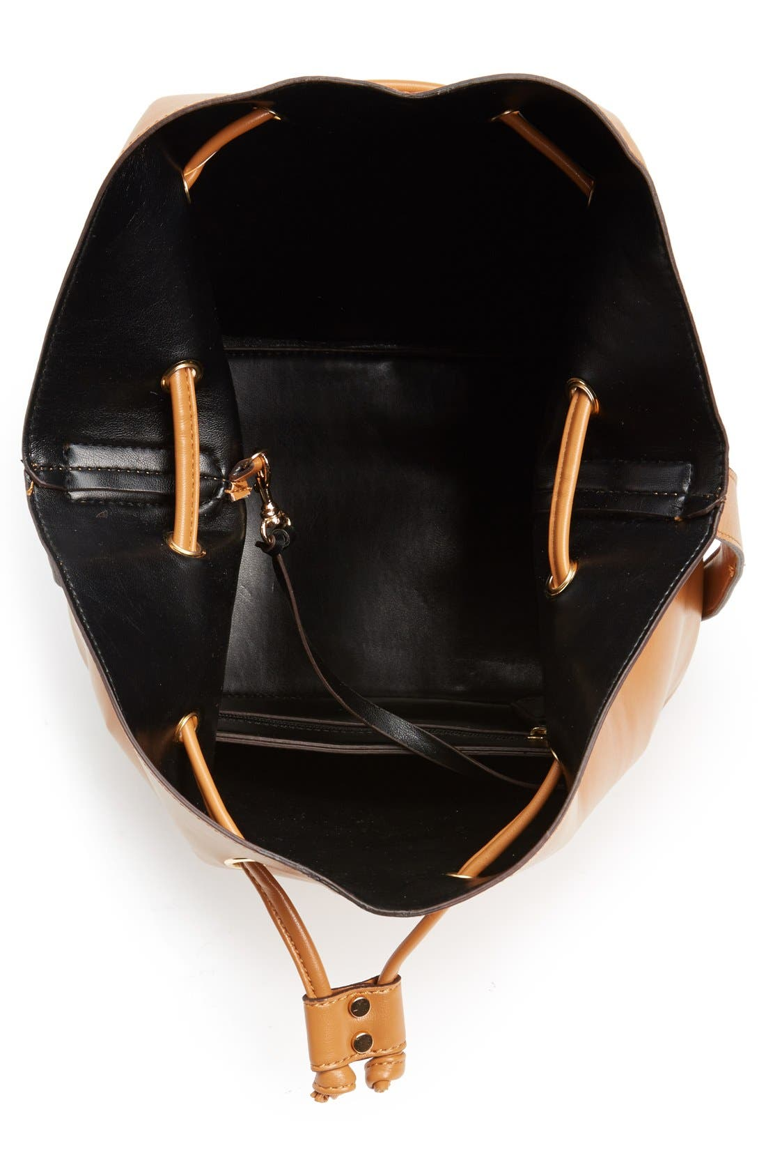 SOLE SOCIETY,                             'Nevin' Faux Leather Drawstring Bucket Bag,                             Alternate thumbnail 4, color,                             200