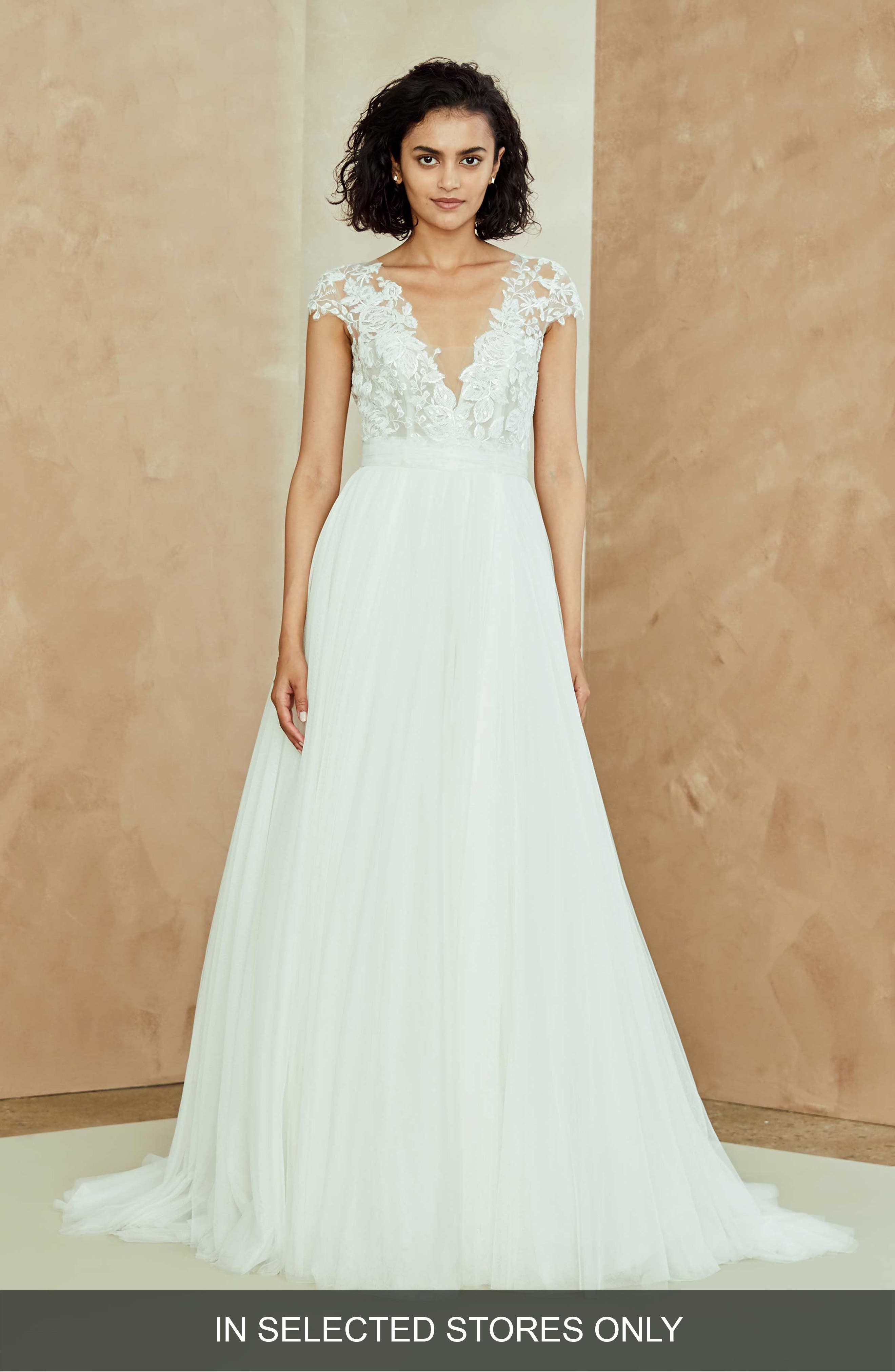 Danielle Embroidered Tulle A-Line Gown,                             Main thumbnail 1, color,                             IVORY