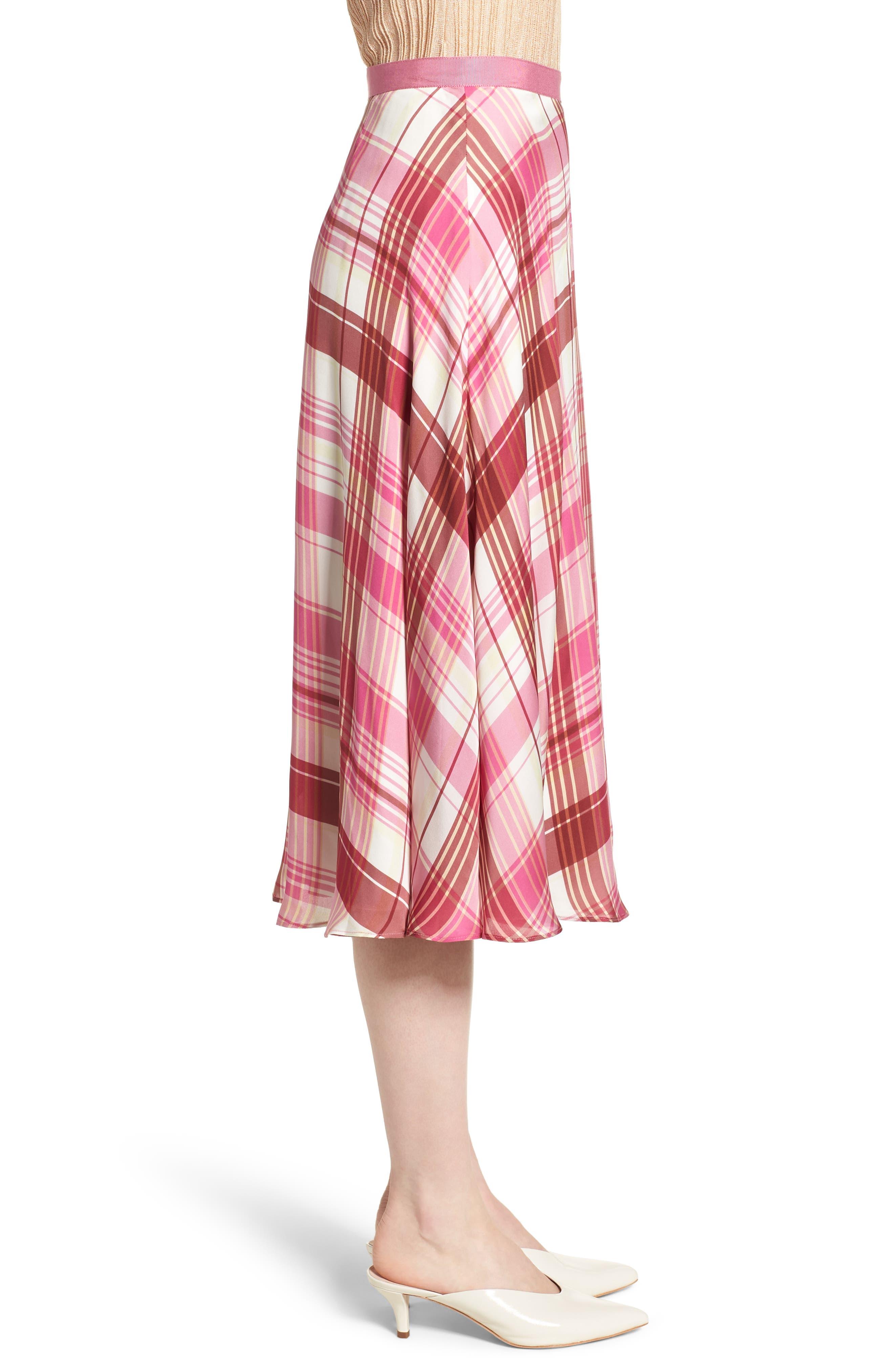 Plaid Silk Skirt,                             Alternate thumbnail 3, color,                             PINK PHLOX LARA PLAID