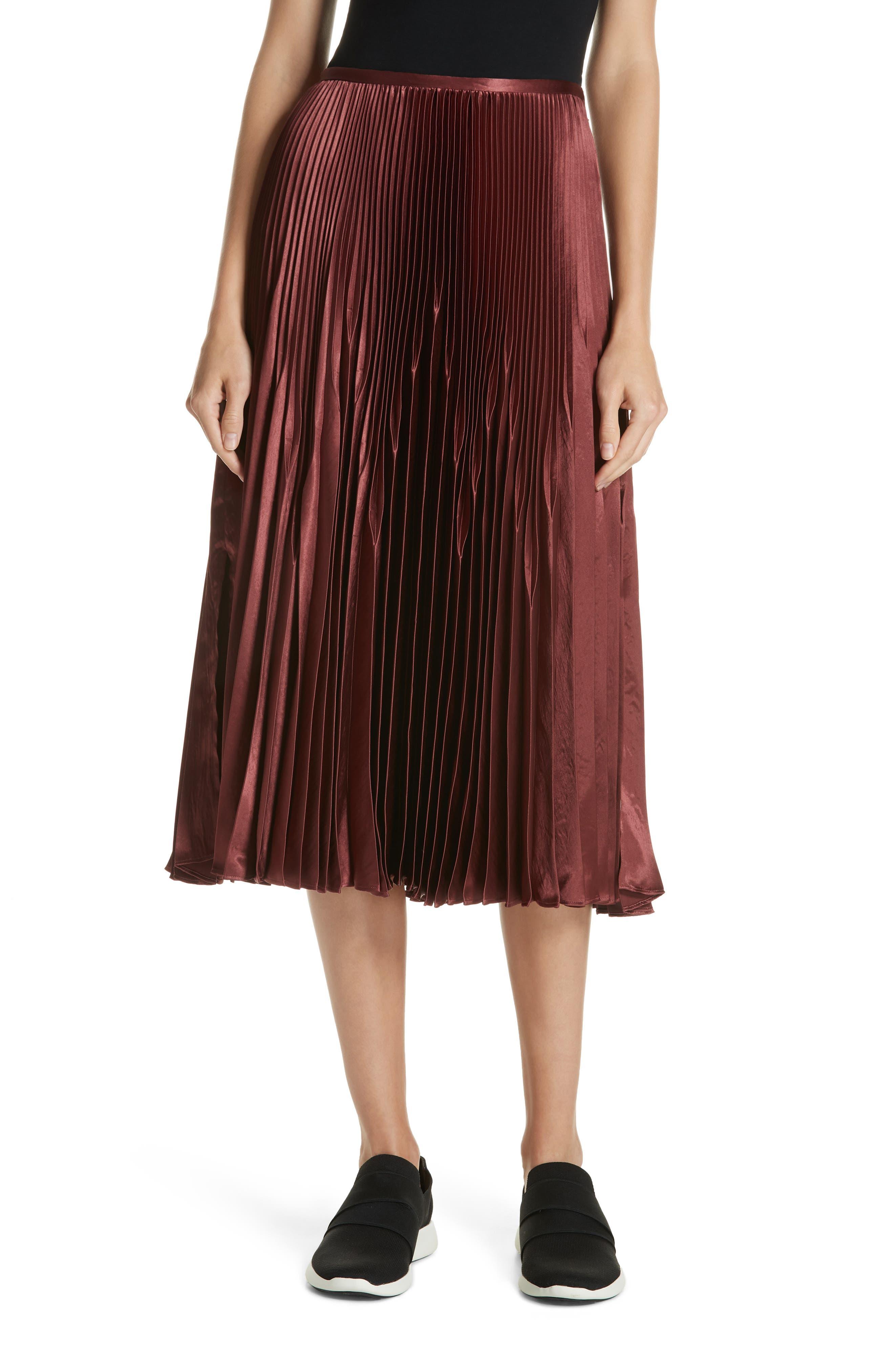 Chevron Pleated Satin Skirt,                         Main,                         color, ANISE