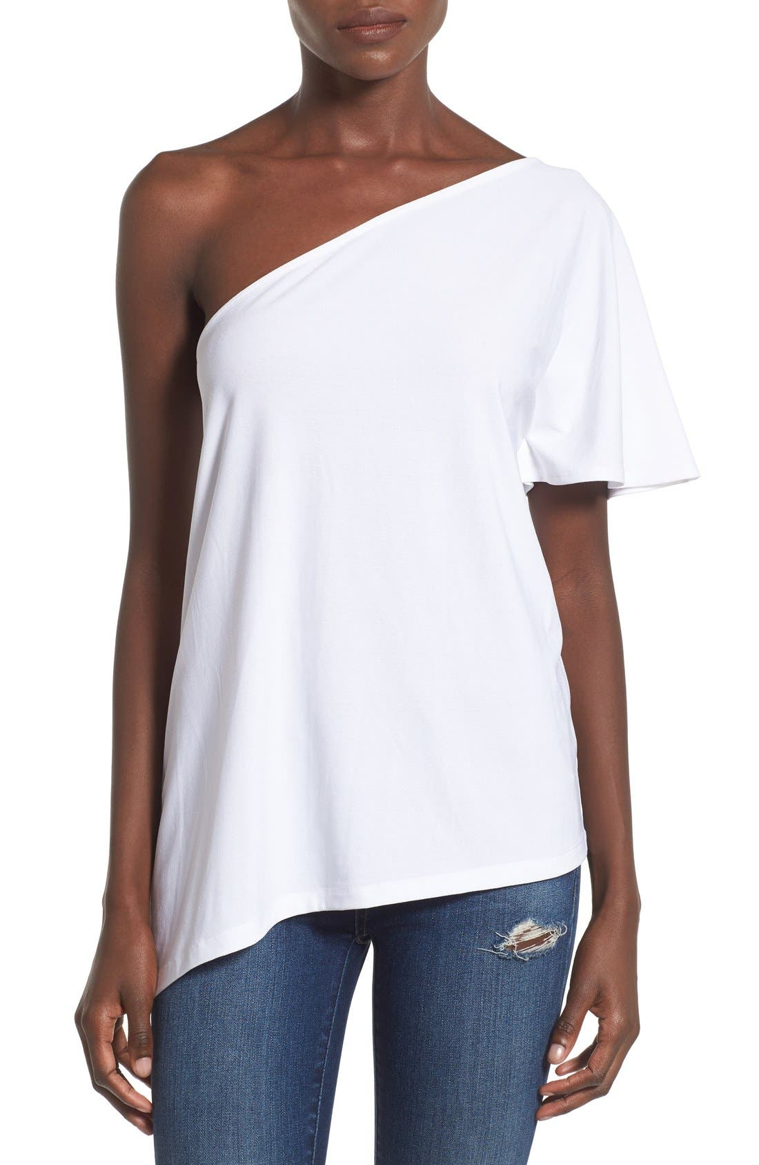 LEITH,                             One Shoulder Tee,                             Main thumbnail 1, color,                             100