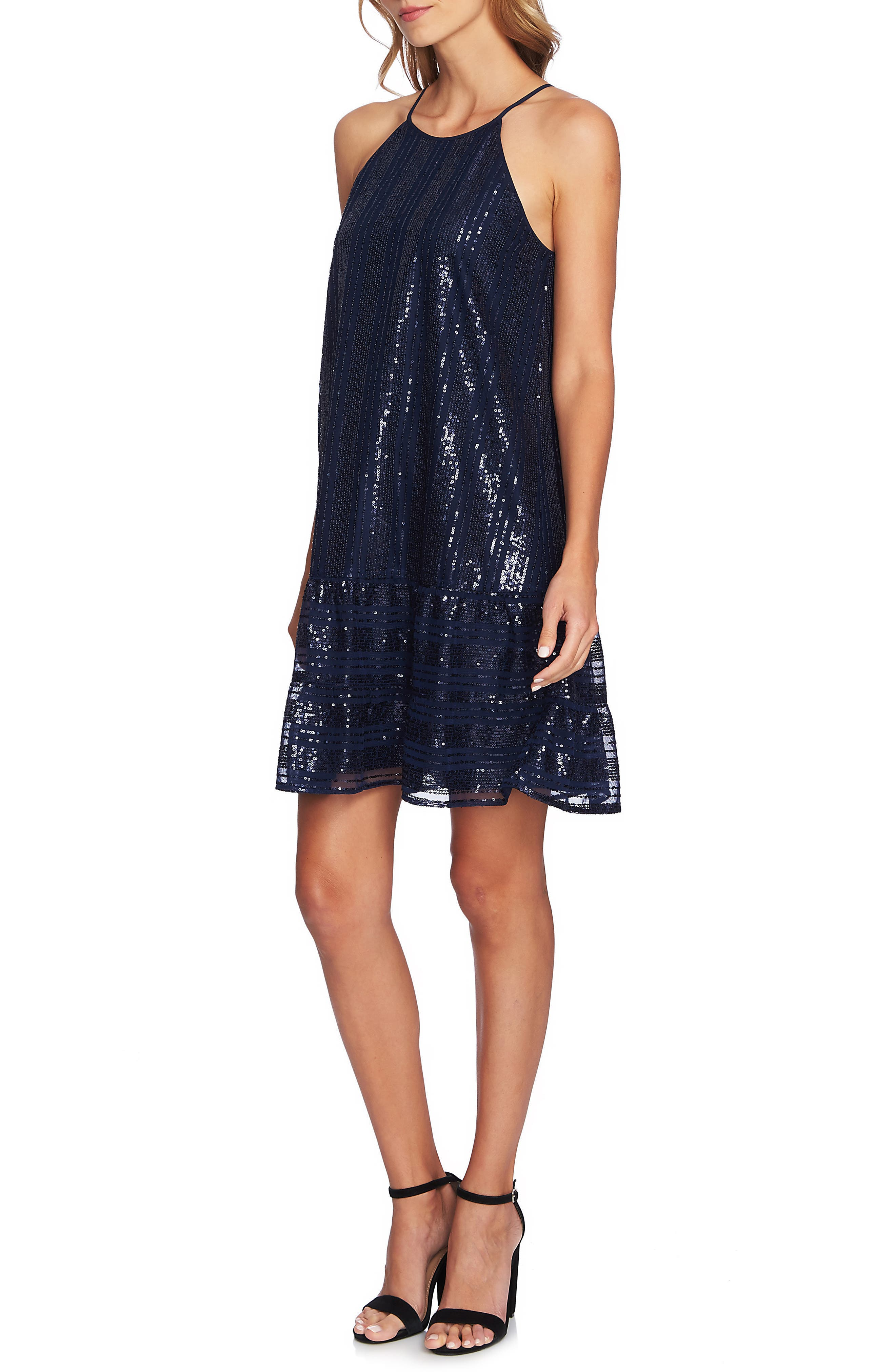 Sequin Ruffle Trim Dress,                             Main thumbnail 1, color,                             MIDNIGHT BLOOM