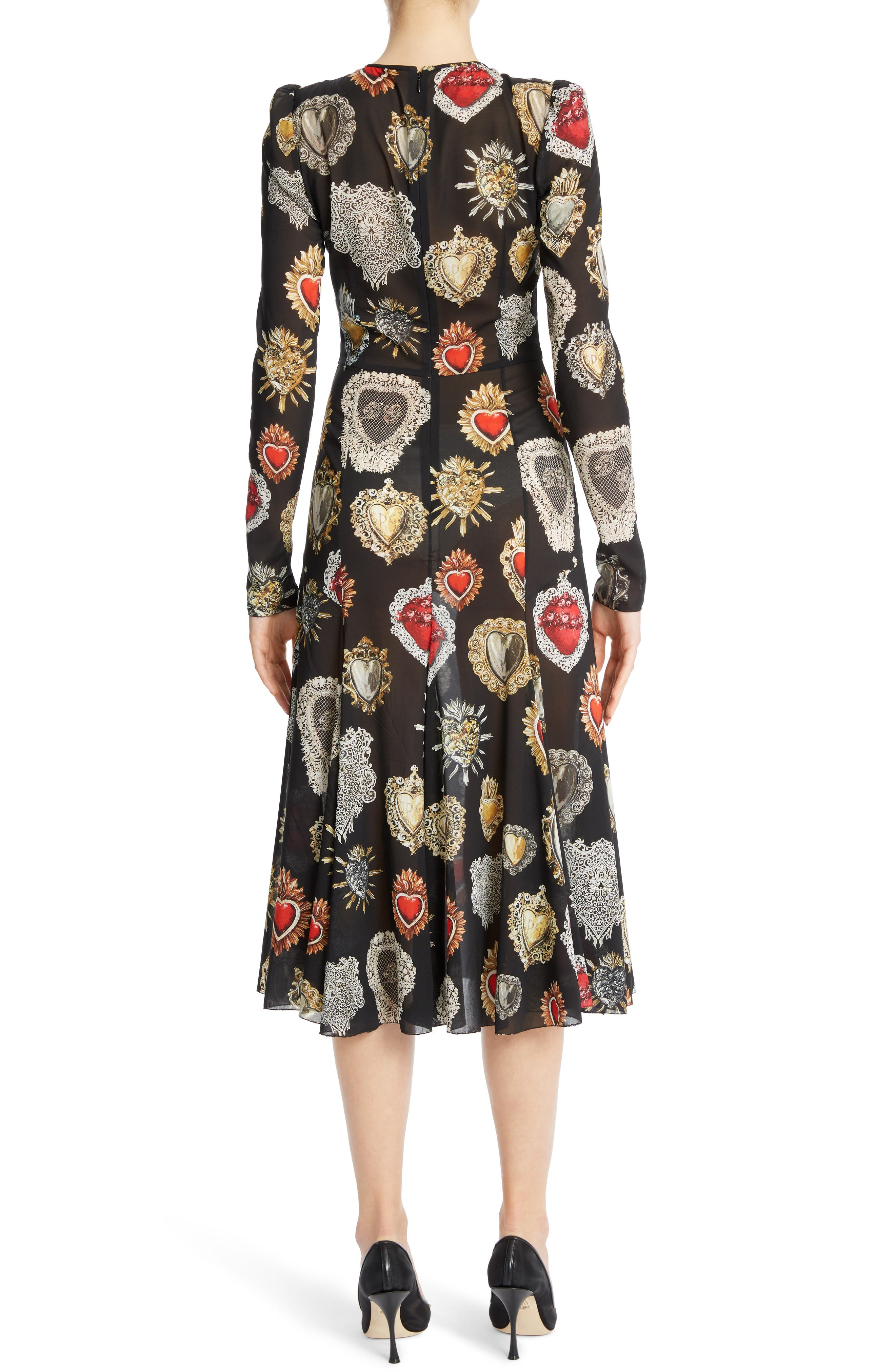 Sacred Heart Silk Blend Dress,                             Alternate thumbnail 2, color,                             001