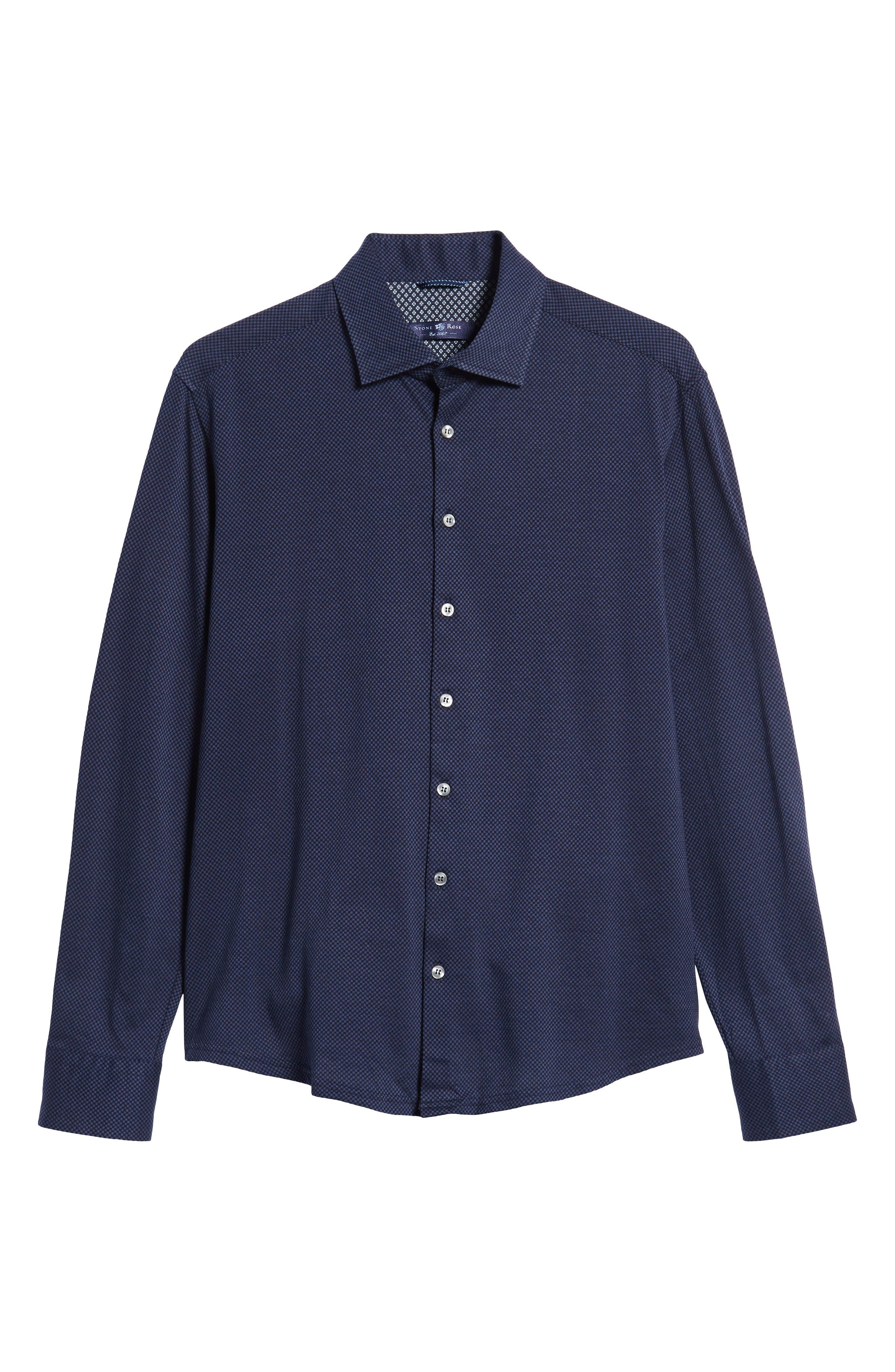 STONE ROSE,                             Trim Fit Knit Sport Shirt,                             Alternate thumbnail 5, color,                             410
