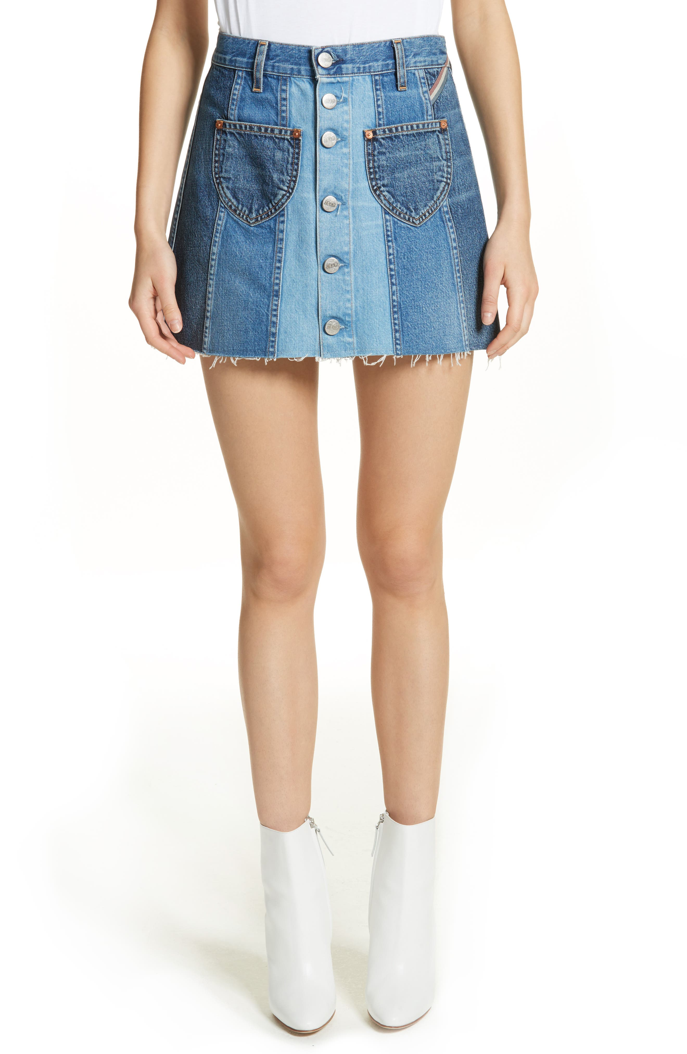 Eloise High Rise Denim Miniskirt,                         Main,                         color, 424