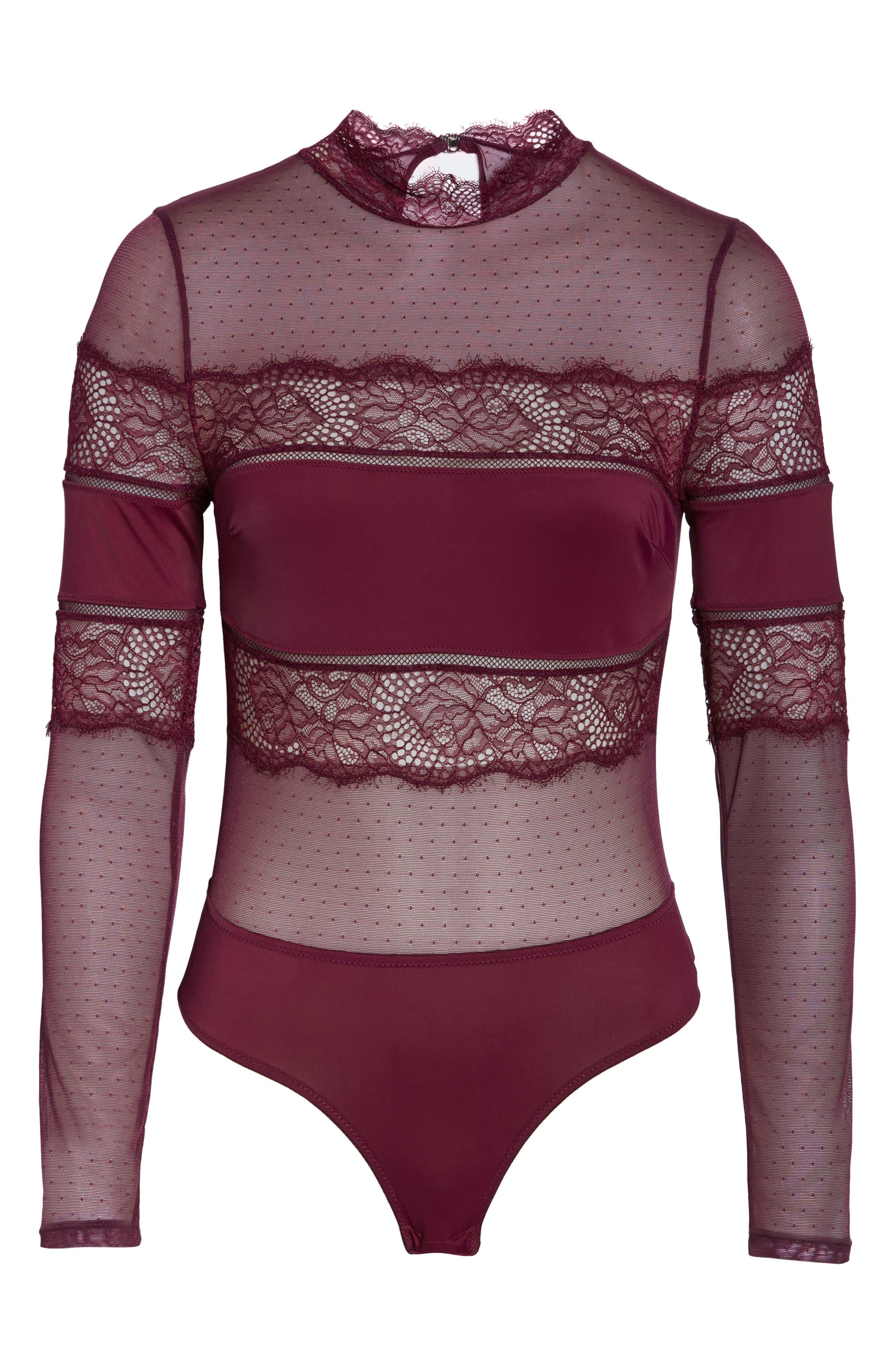 Amore Long Sleeve Bodysuit,                             Alternate thumbnail 6, color,                             CHERRY