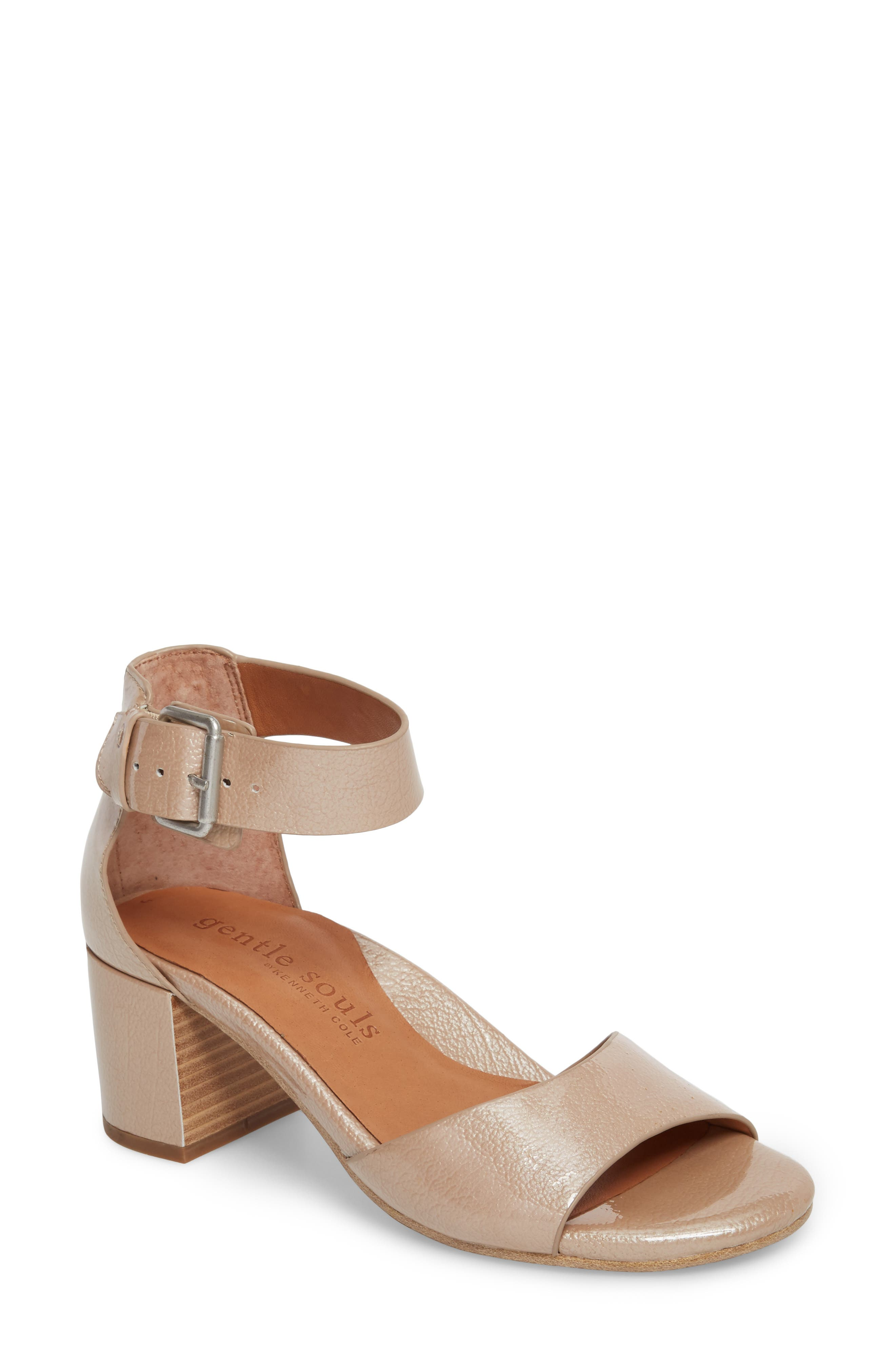 Christa Block Heel Sandal,                         Main,                         color, NUDE PATENT LEATHER