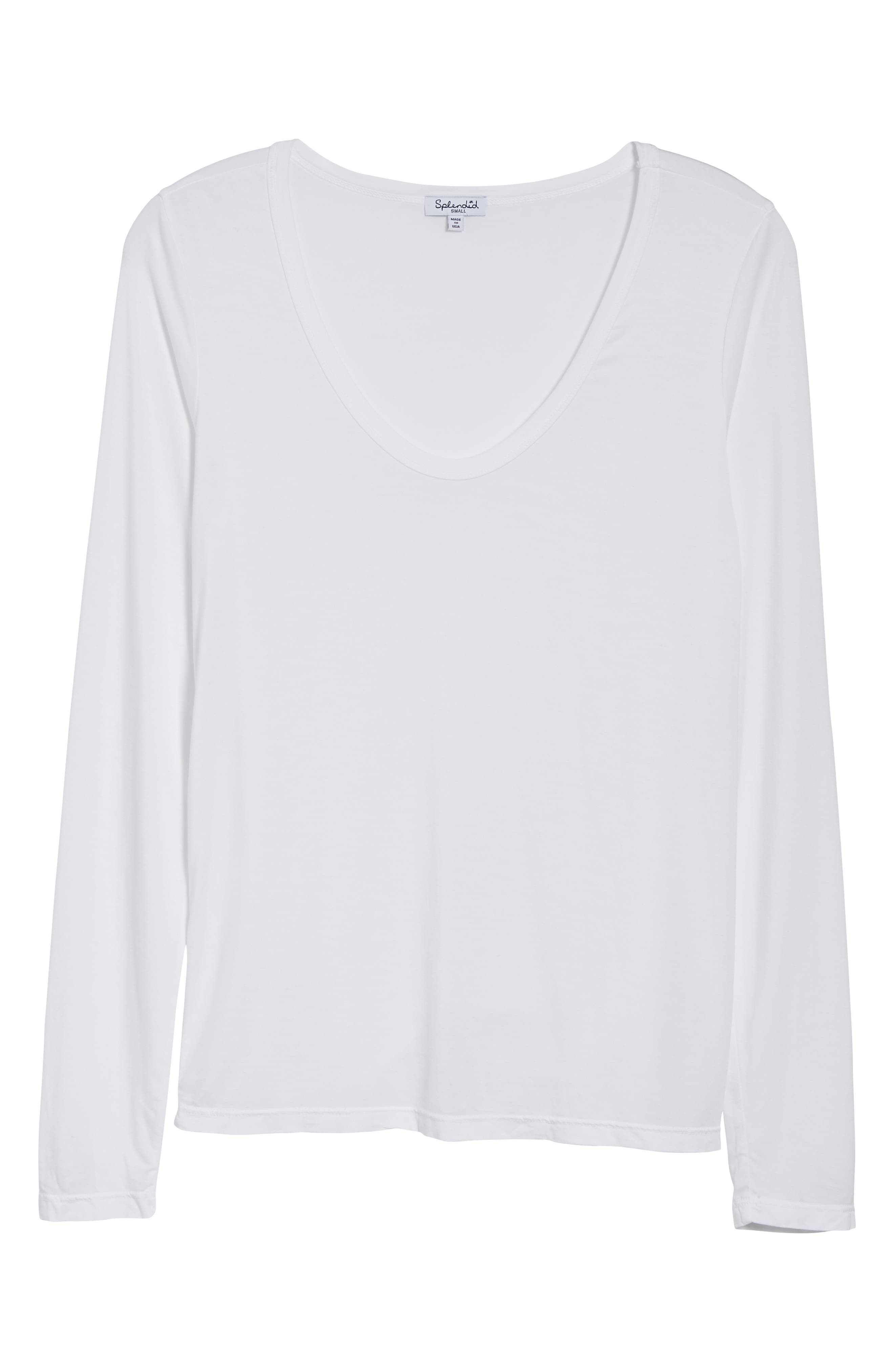 Scoop Neck Jersey Tee,                             Alternate thumbnail 6, color,                             WHITE