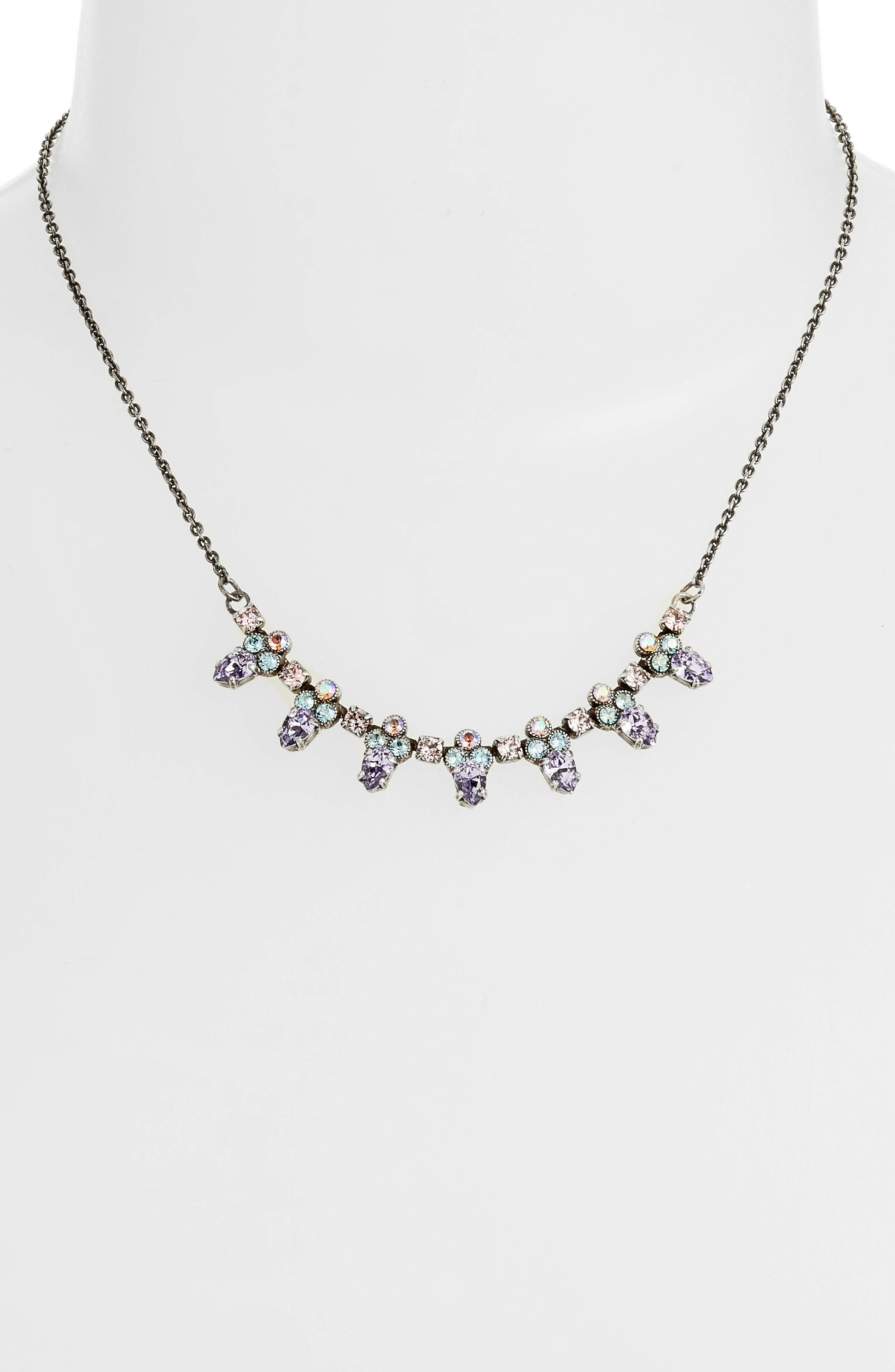 Twinkling Thistle Crystal Necklace,                             Alternate thumbnail 6, color,