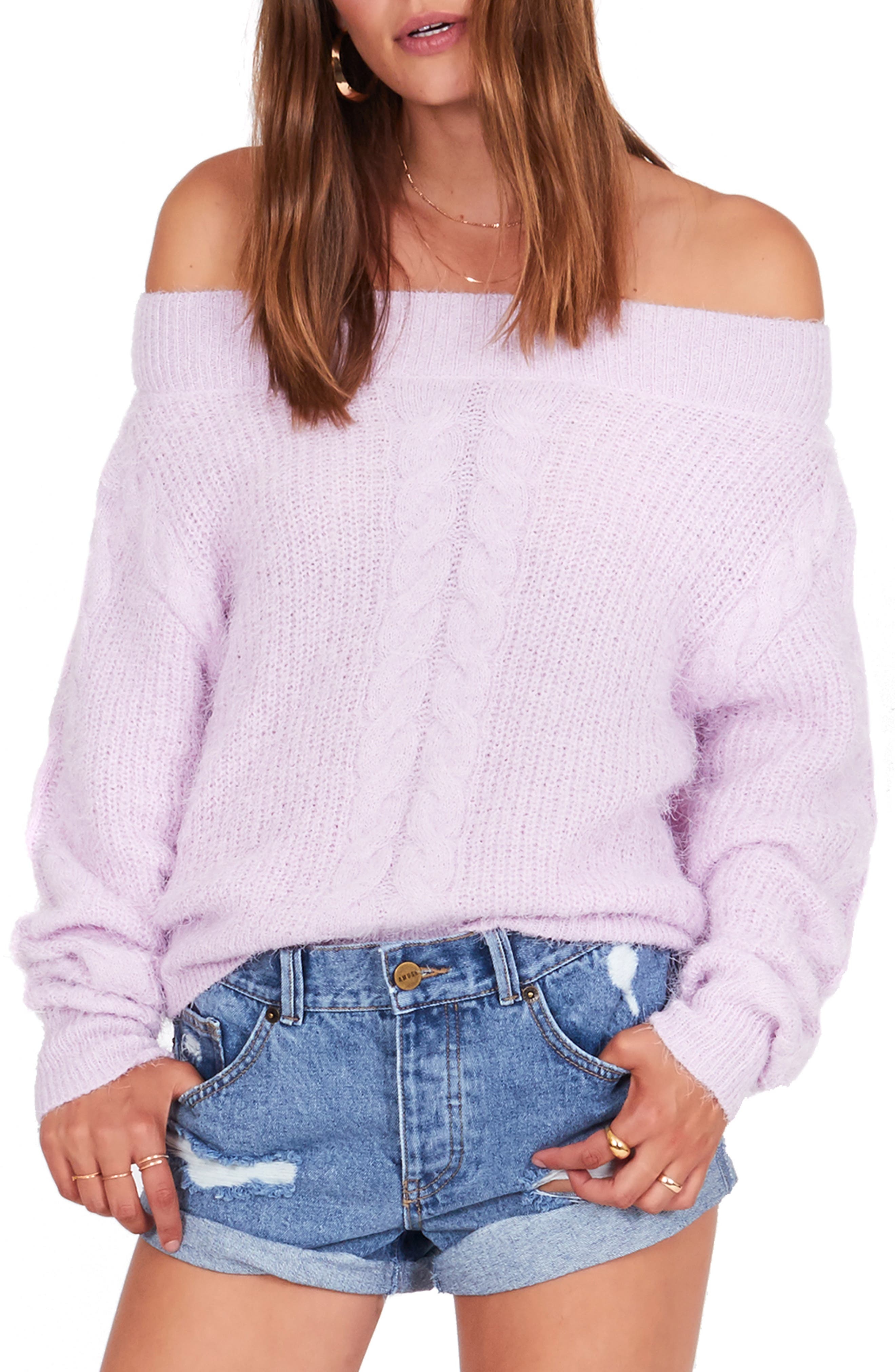 AMUSE SOCIETY Miraflores Off The Shoulder Sweater in Lilac