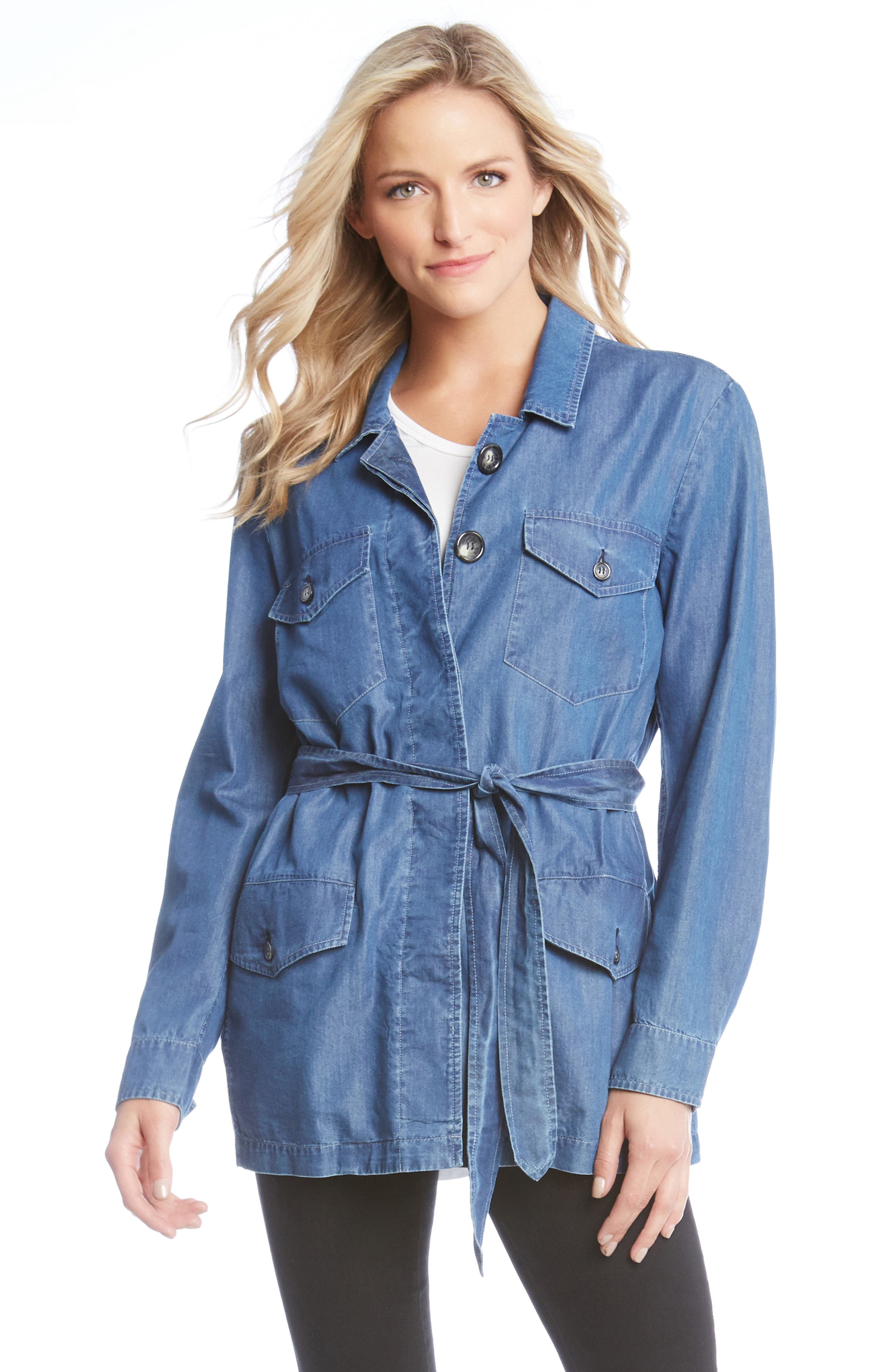 Belted Chambray Cargo Jacket,                             Alternate thumbnail 5, color,                             455