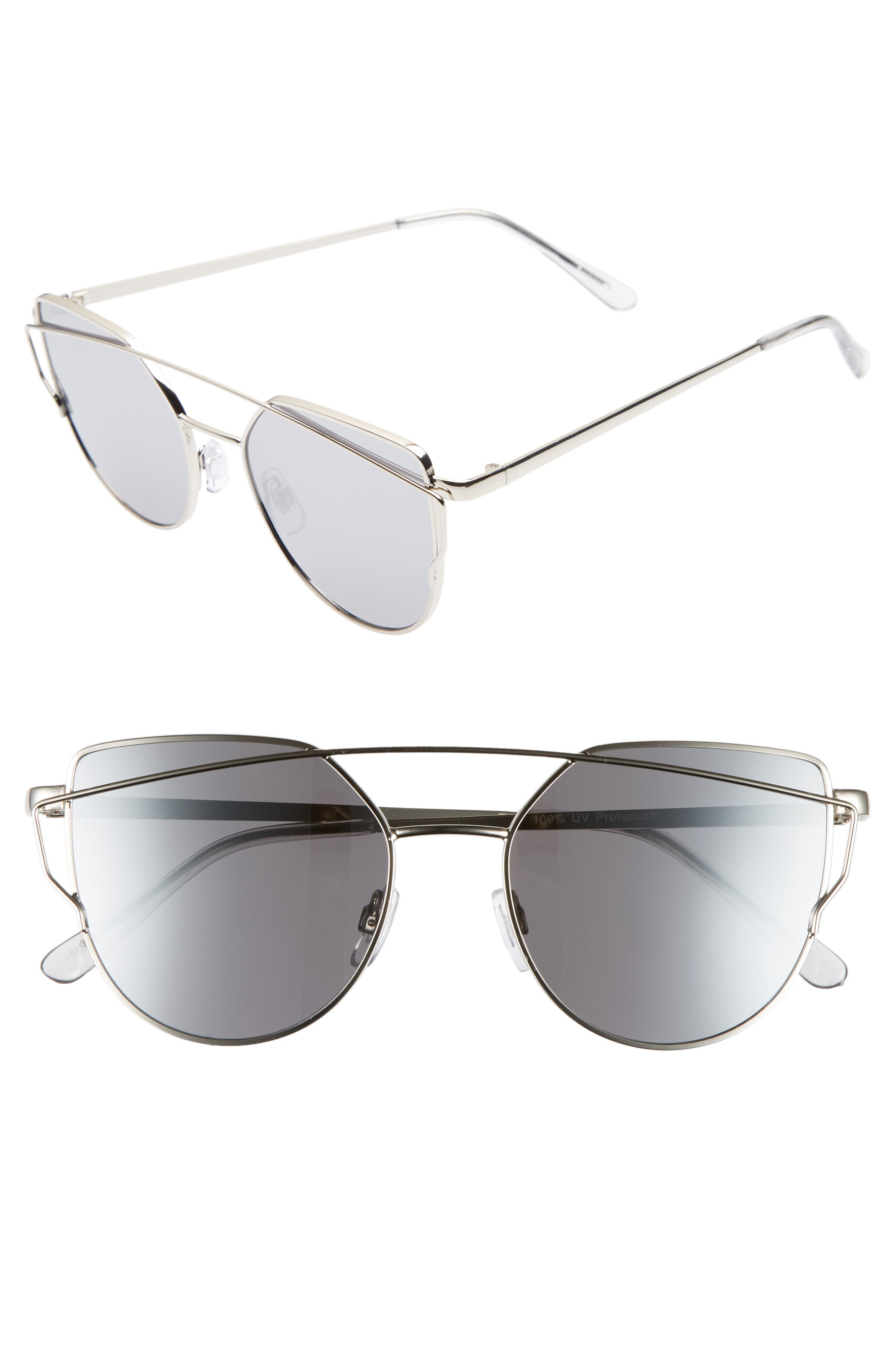 51mm Thin Brow Angular Aviator Sunglasses,                         Main,                         color,