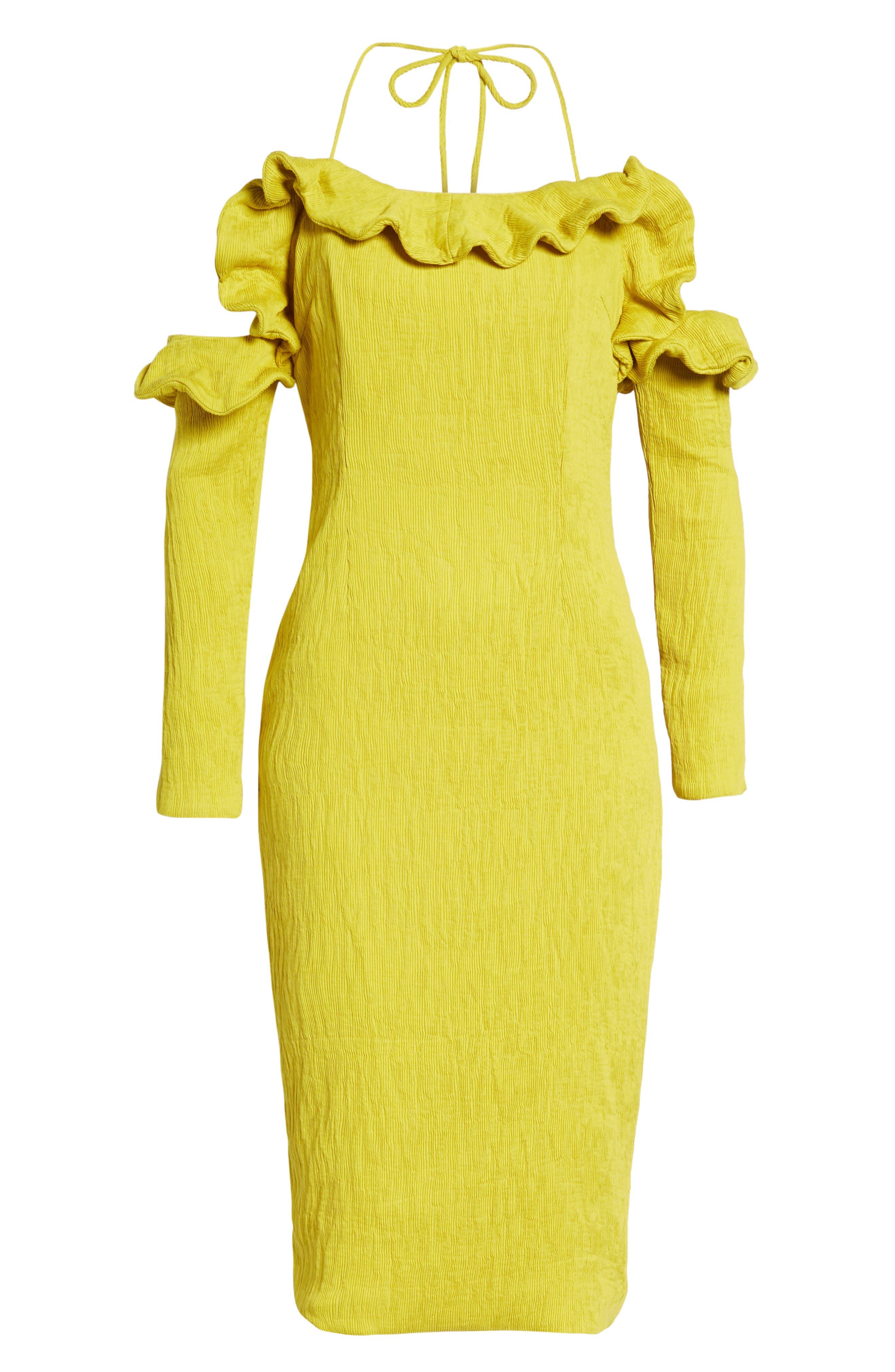 Avon Cold Shoulder Dress,                             Alternate thumbnail 7, color,                             CHARTREUSE