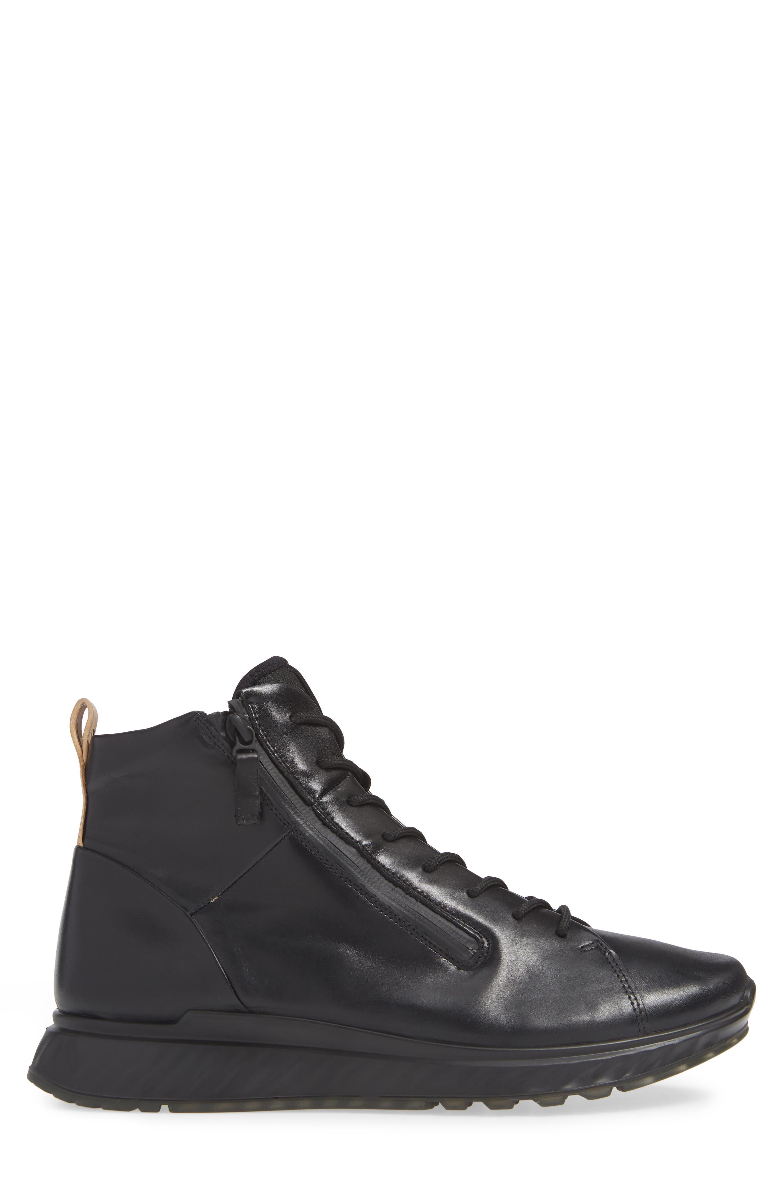 ST1 High Top Sneaker,                             Alternate thumbnail 3, color,                             BLACK/BLACK LEATHER