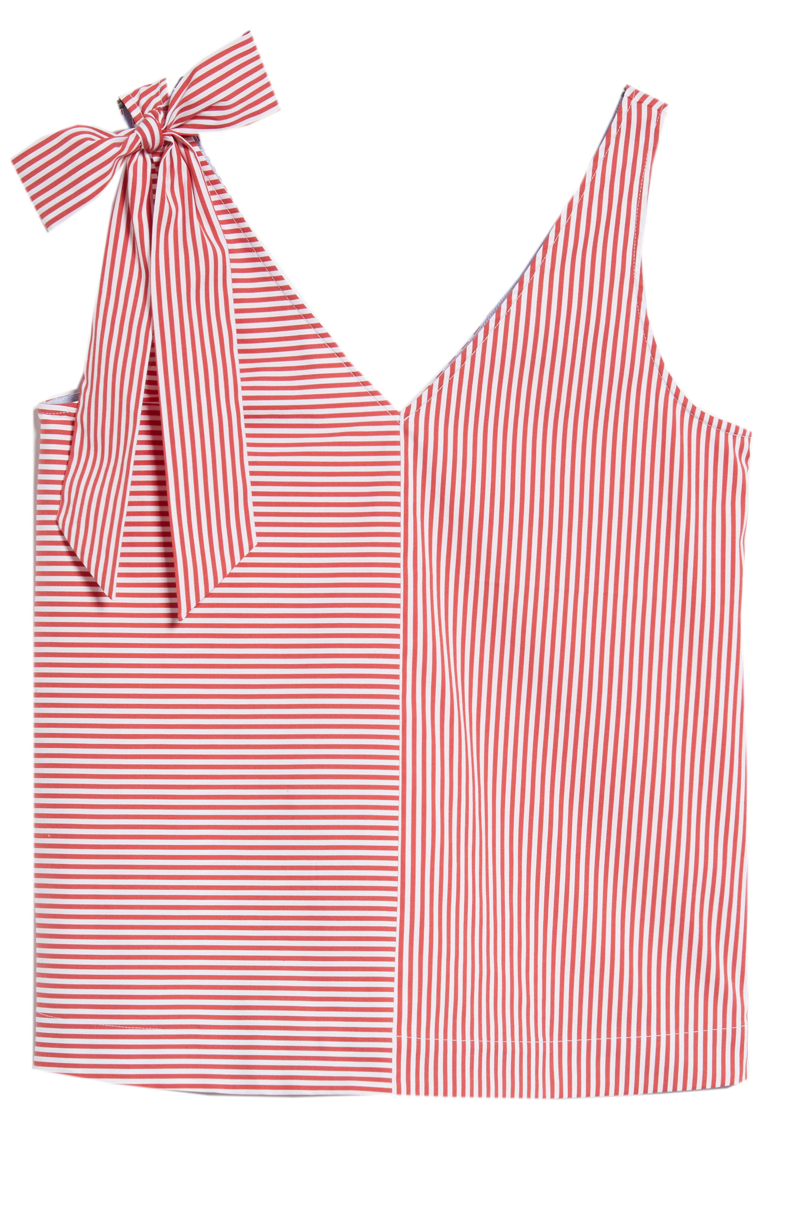 Sleeveless Striped Bow Top,                             Alternate thumbnail 6, color,                             621