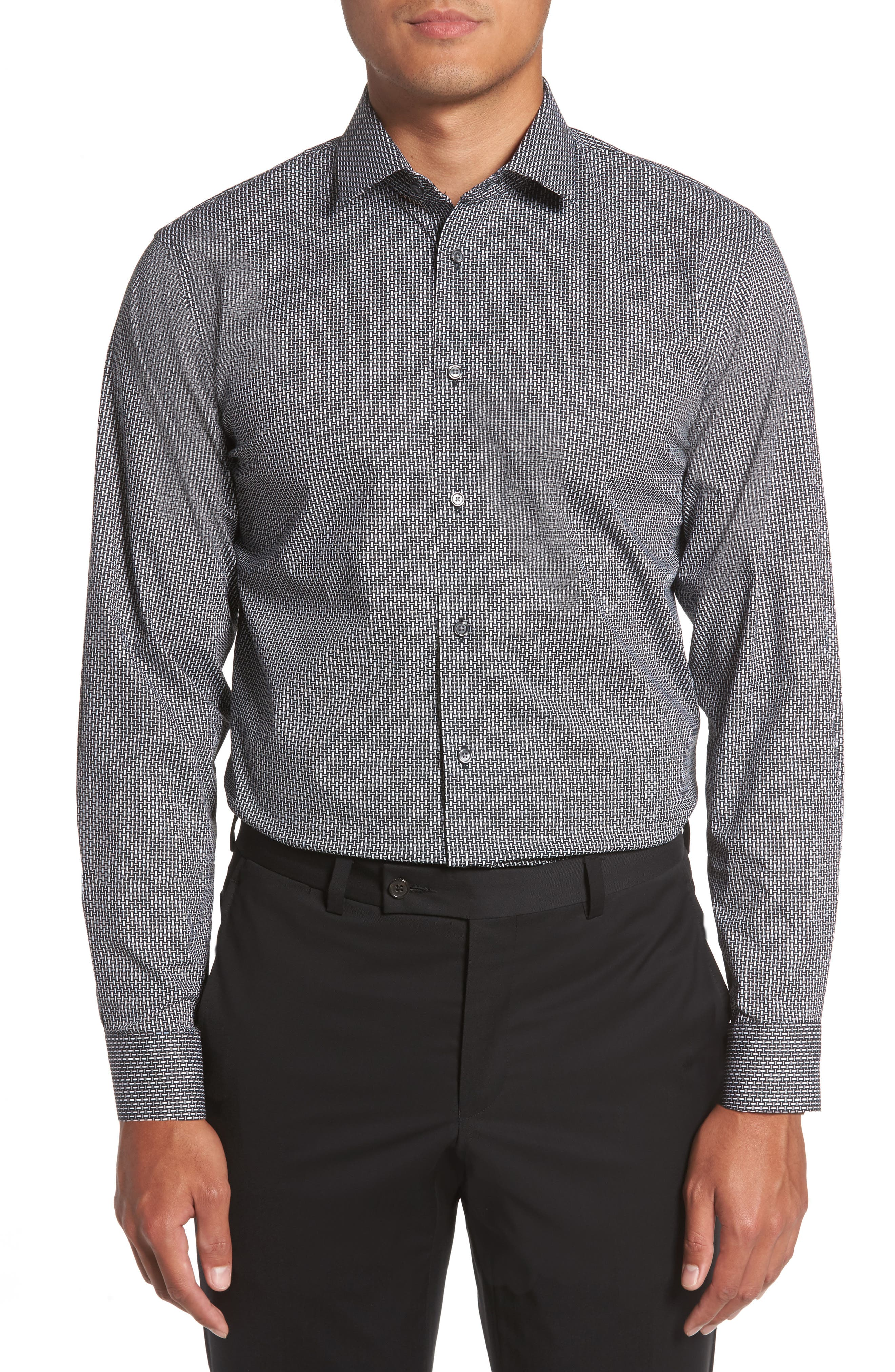 Trim Fit Non-Iron Graphic Stretch Dress Shirt,                             Main thumbnail 1, color,                             001