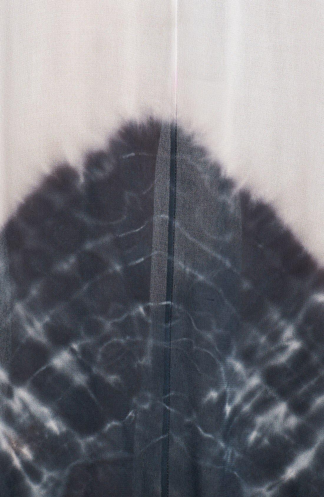 Border Print Crepe A-Line Maxi Dress,                             Alternate thumbnail 8, color,                             100