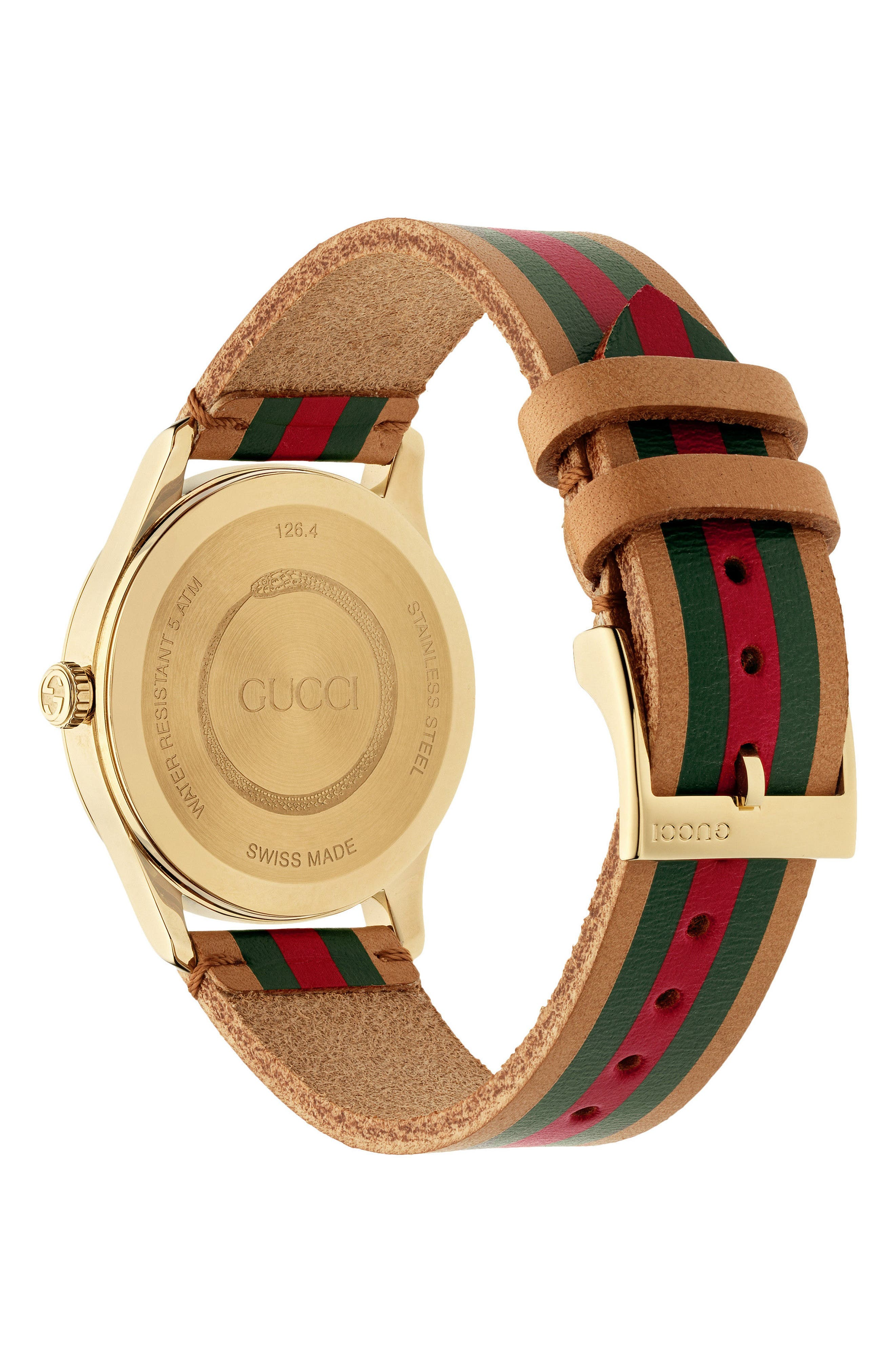 G-Timeless Leather Strap Watch, 38mm,                             Alternate thumbnail 2, color,                             BROWN/ GREEN/ GOLD