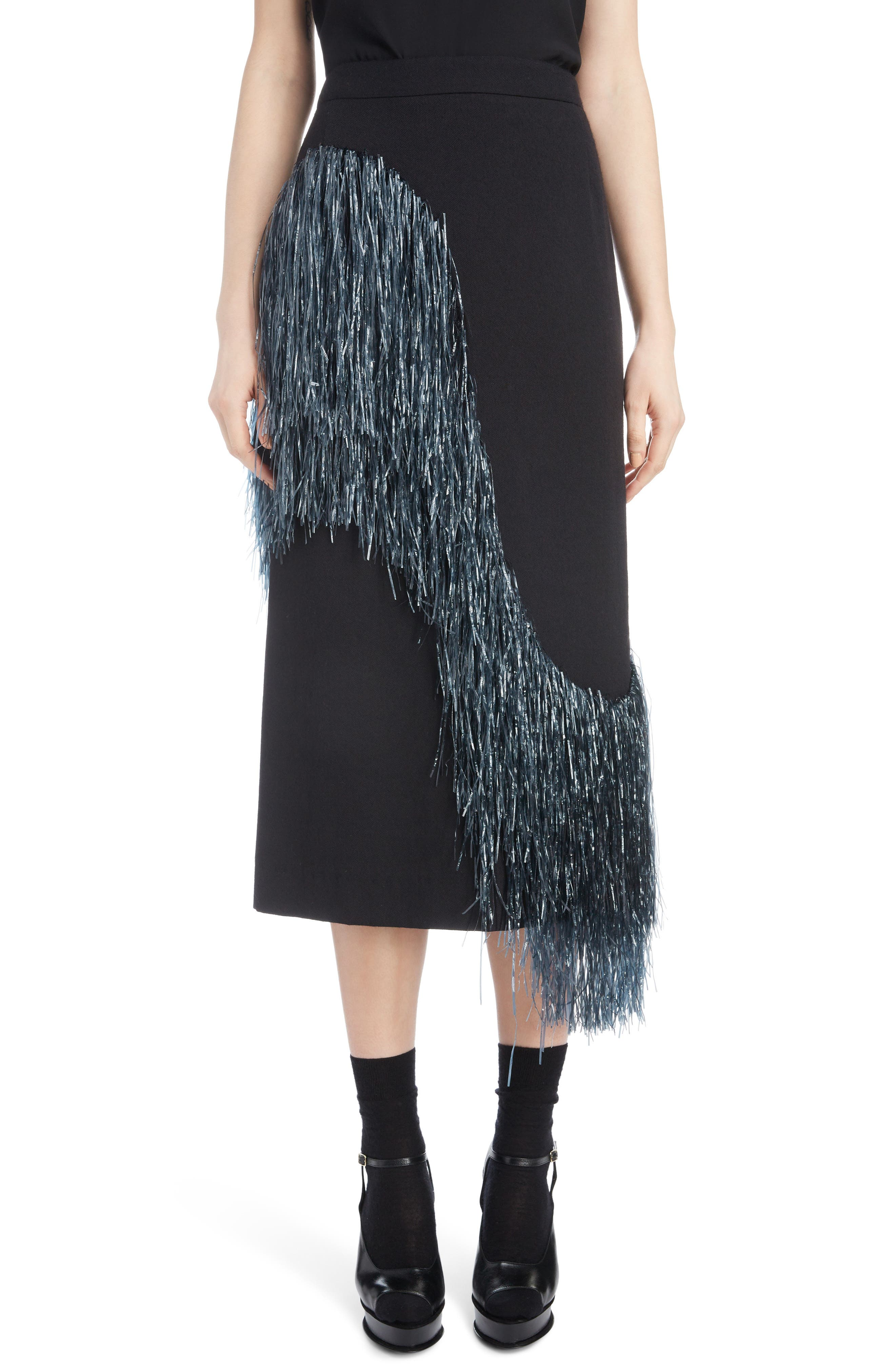 Wave-Raffia Fringe Wool-Blend Midi Pencil Skirt in Anthracite