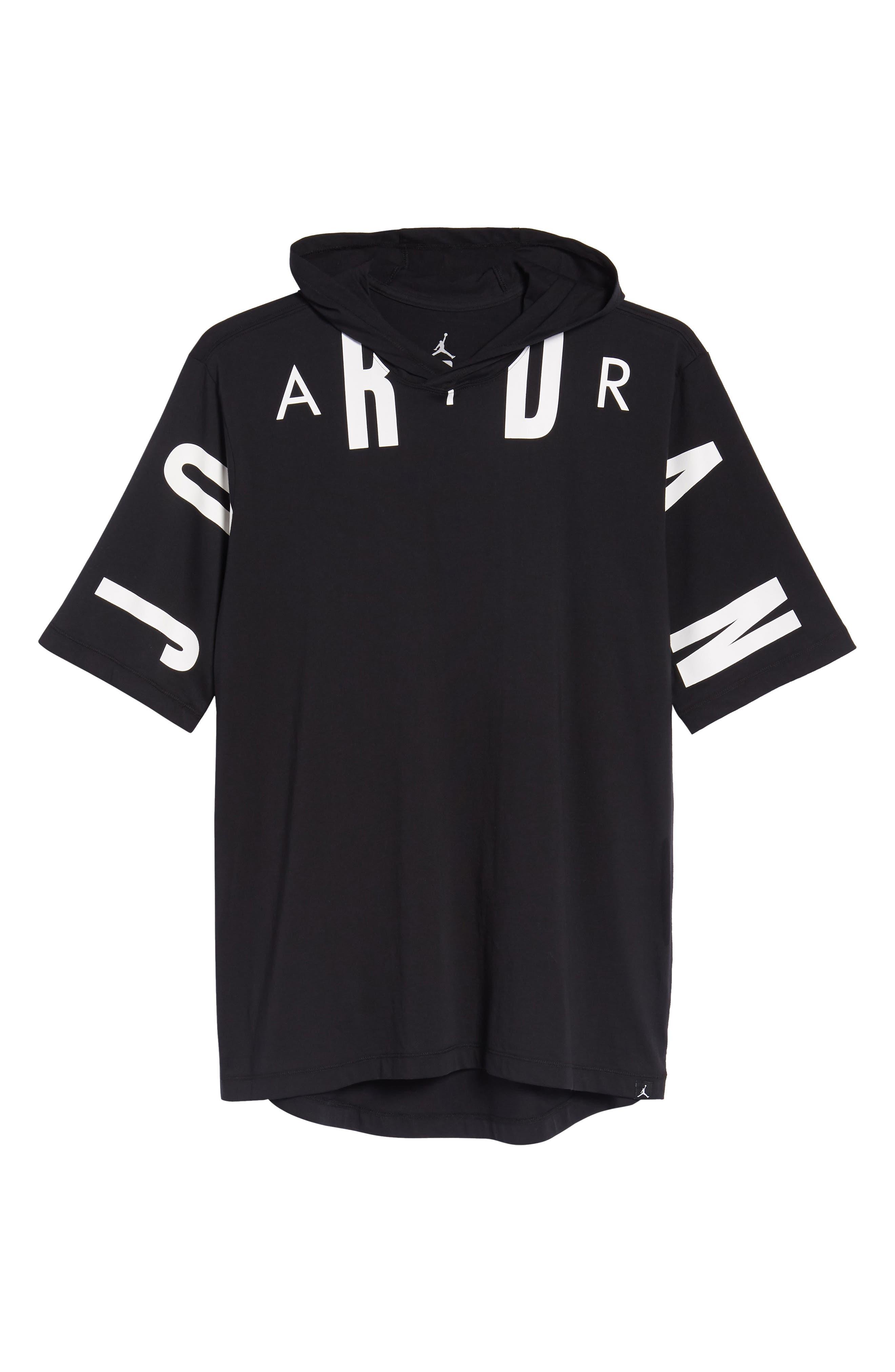 Jordan 23 Hooded T-Shirt,                             Alternate thumbnail 6, color,                             BLACK/ WHITE