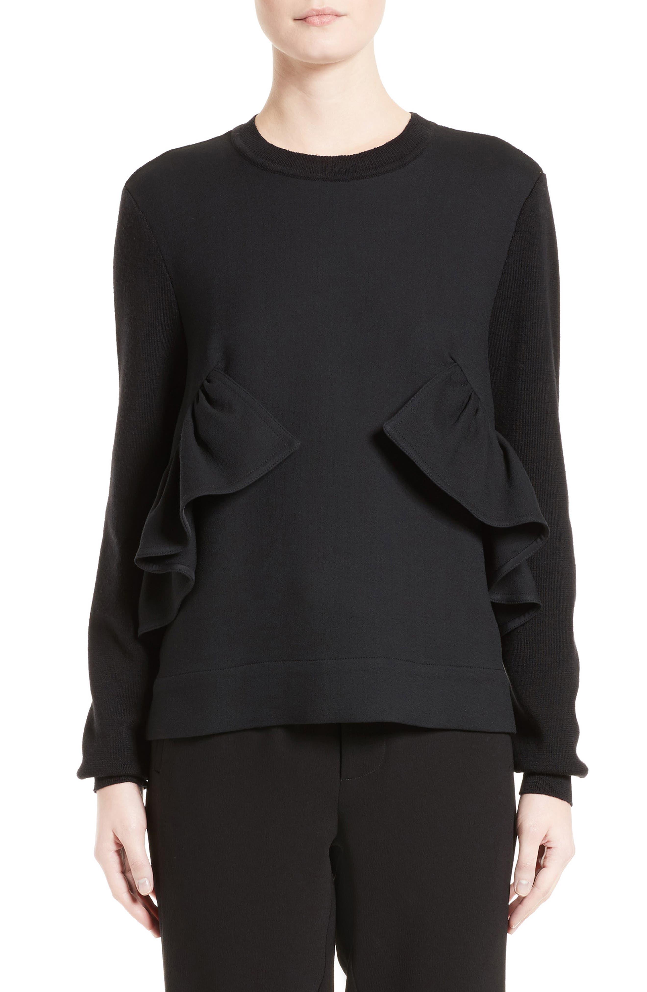 Ruffle Crewneck Sweater,                         Main,                         color, 001