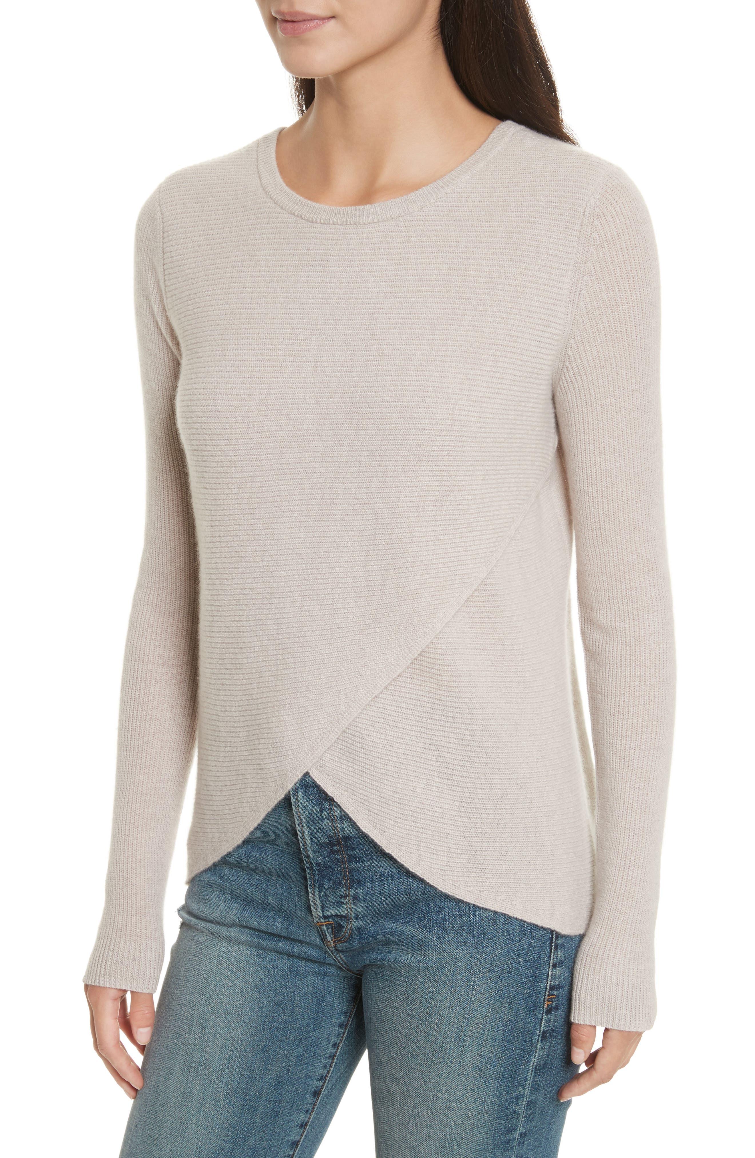 Cashmere Reversible Surplice Sweater,                             Alternate thumbnail 4, color,