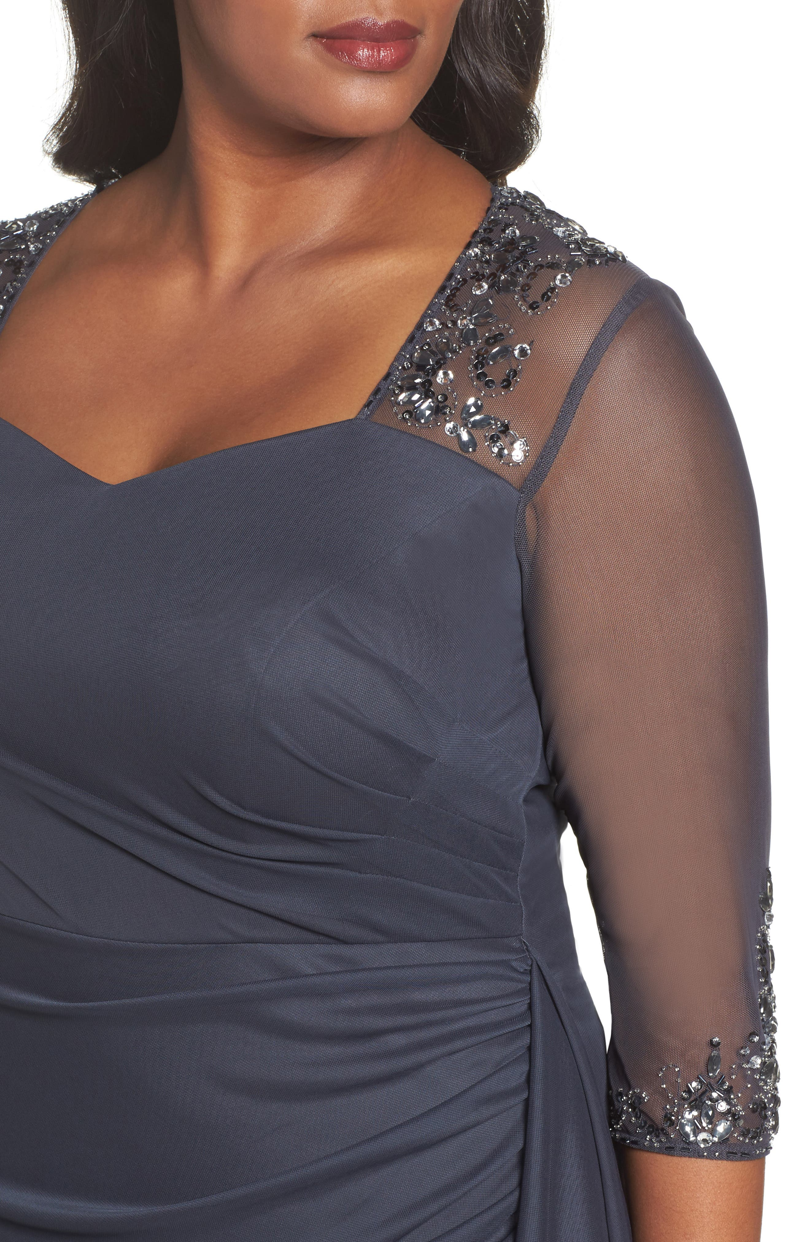Embellished Side Pleat Sweetheart Gown,                             Alternate thumbnail 4, color,