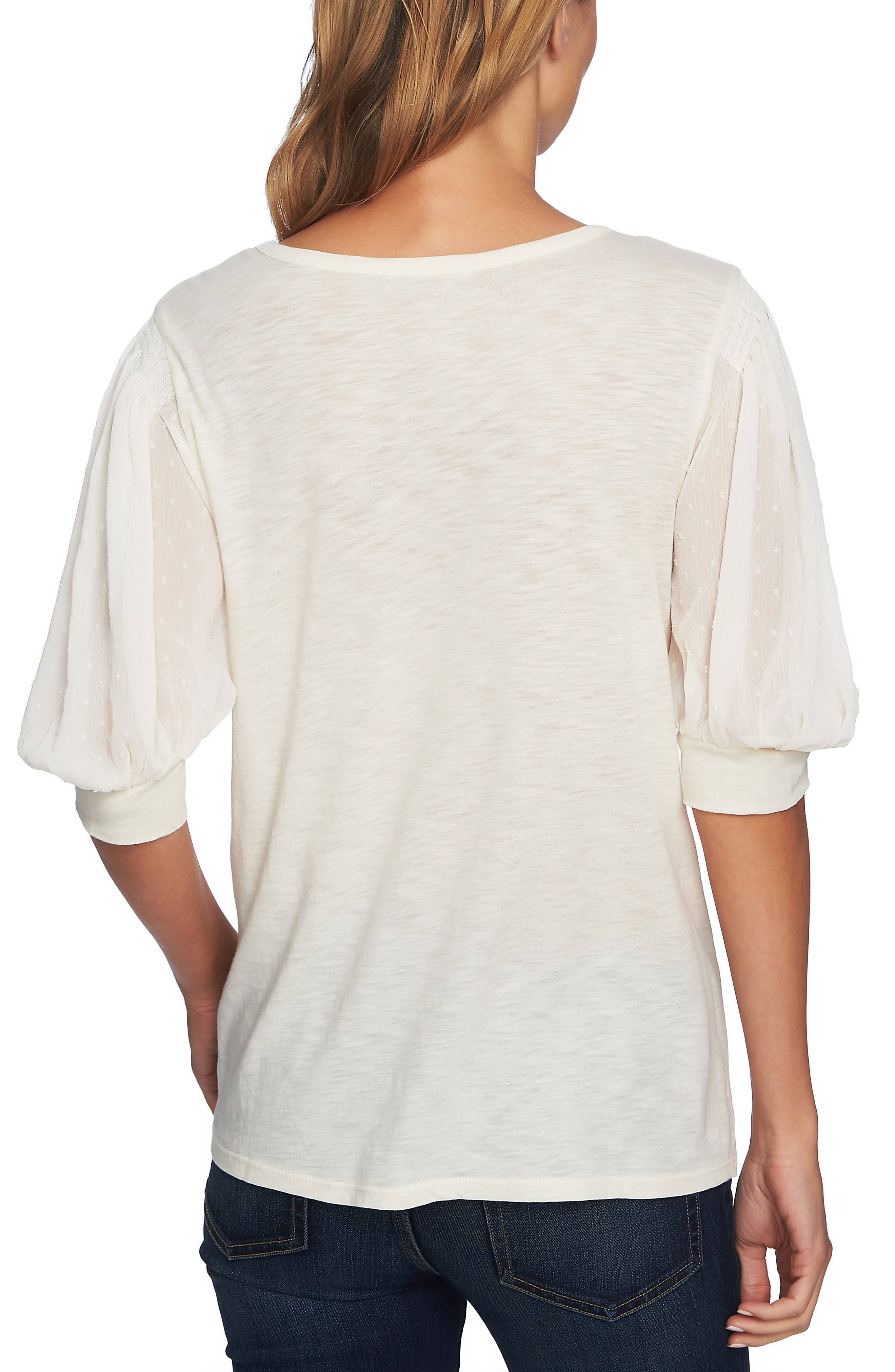 Puffed Sleeve Tee,                             Alternate thumbnail 2, color,                             ANTIQUE WHITE