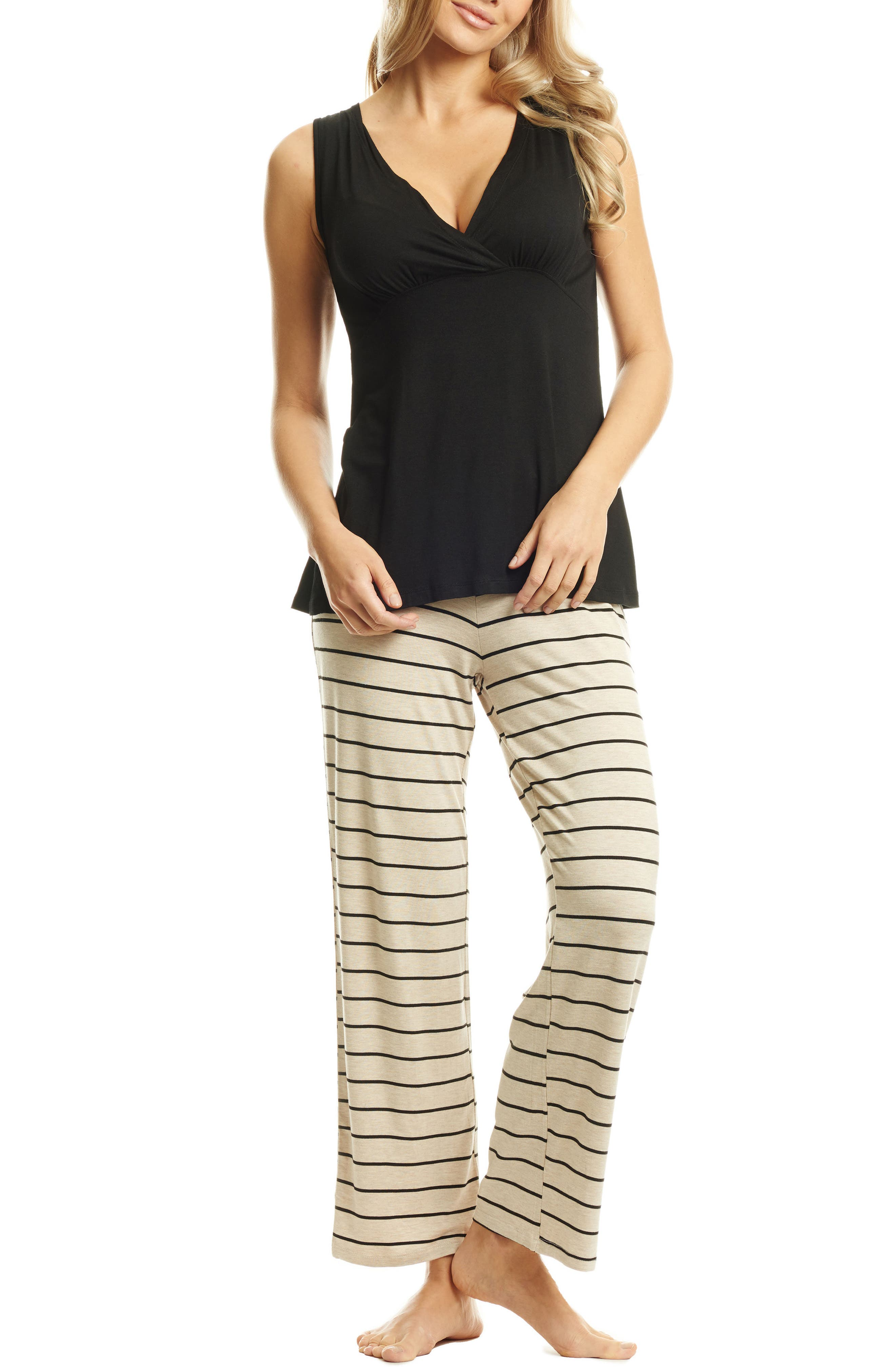 Roxanne - During & After 5-Piece Maternity Sleepwear Set,                             Main thumbnail 1, color,                             SAND STRIPE
