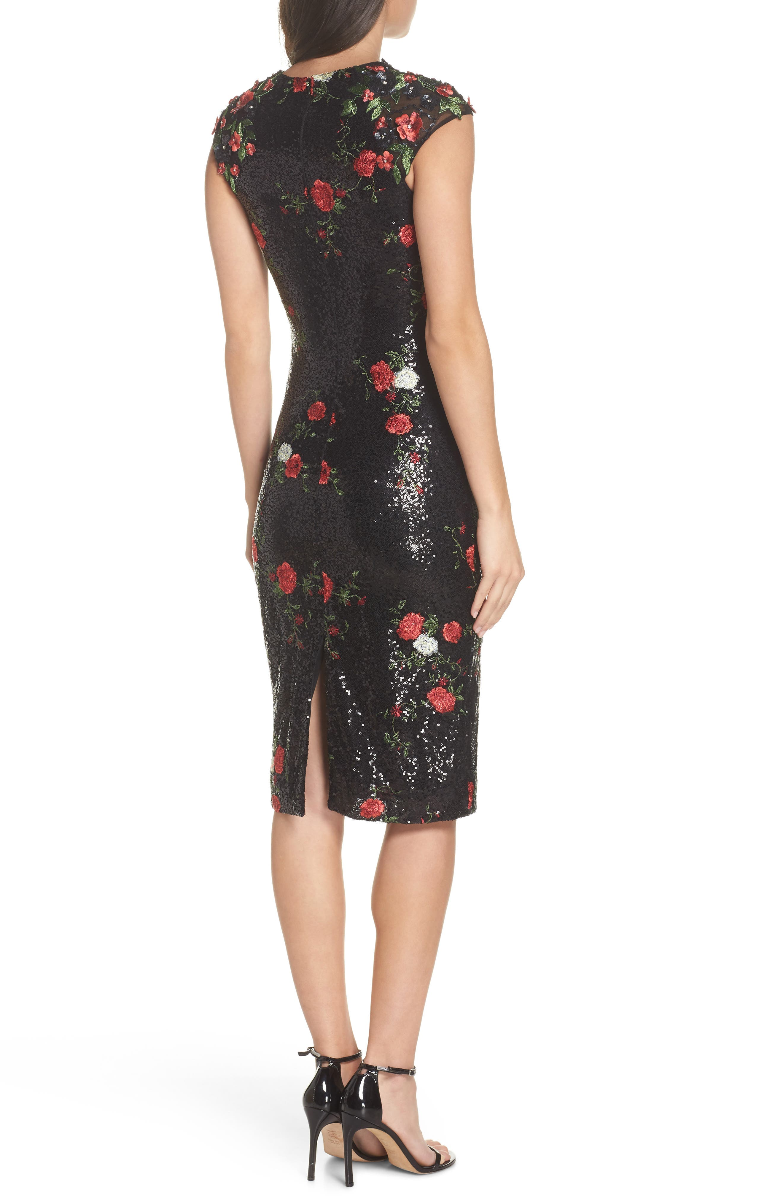 Sequin & Embroidery Sheath Dress,                             Alternate thumbnail 2, color,                             BLACK ROSE