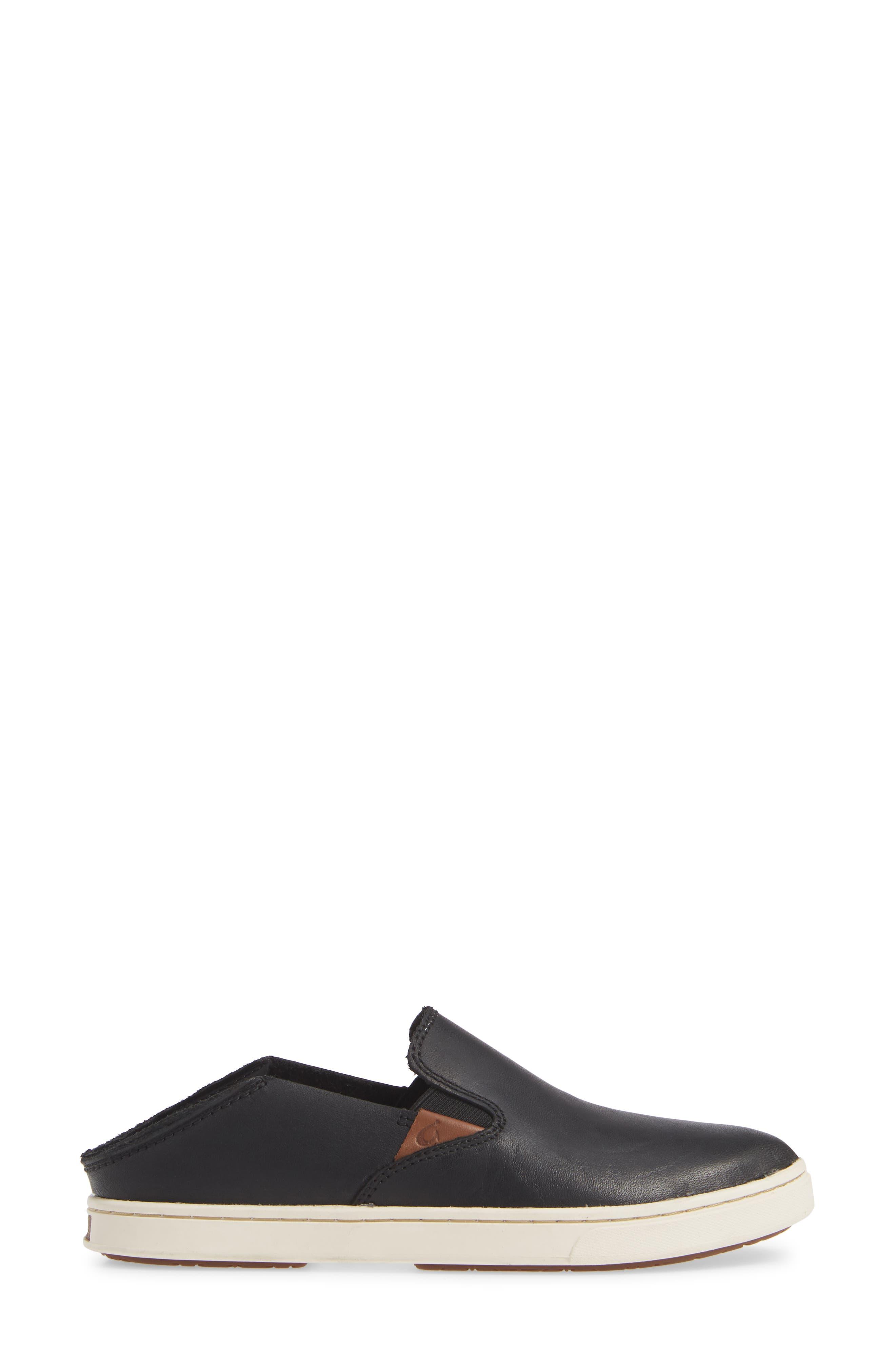 Pehuea Slip-On Sneaker,                             Alternate thumbnail 4, color,                             BLACK/ BLACK LEATHER