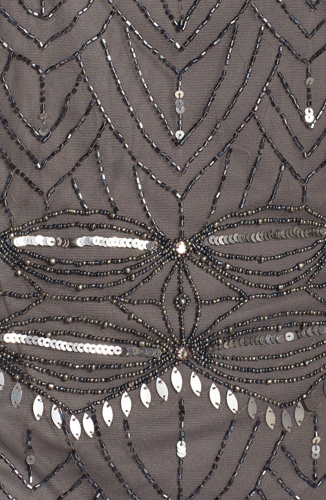 Beaded Mesh Cocktail Dress,                             Alternate thumbnail 4, color,