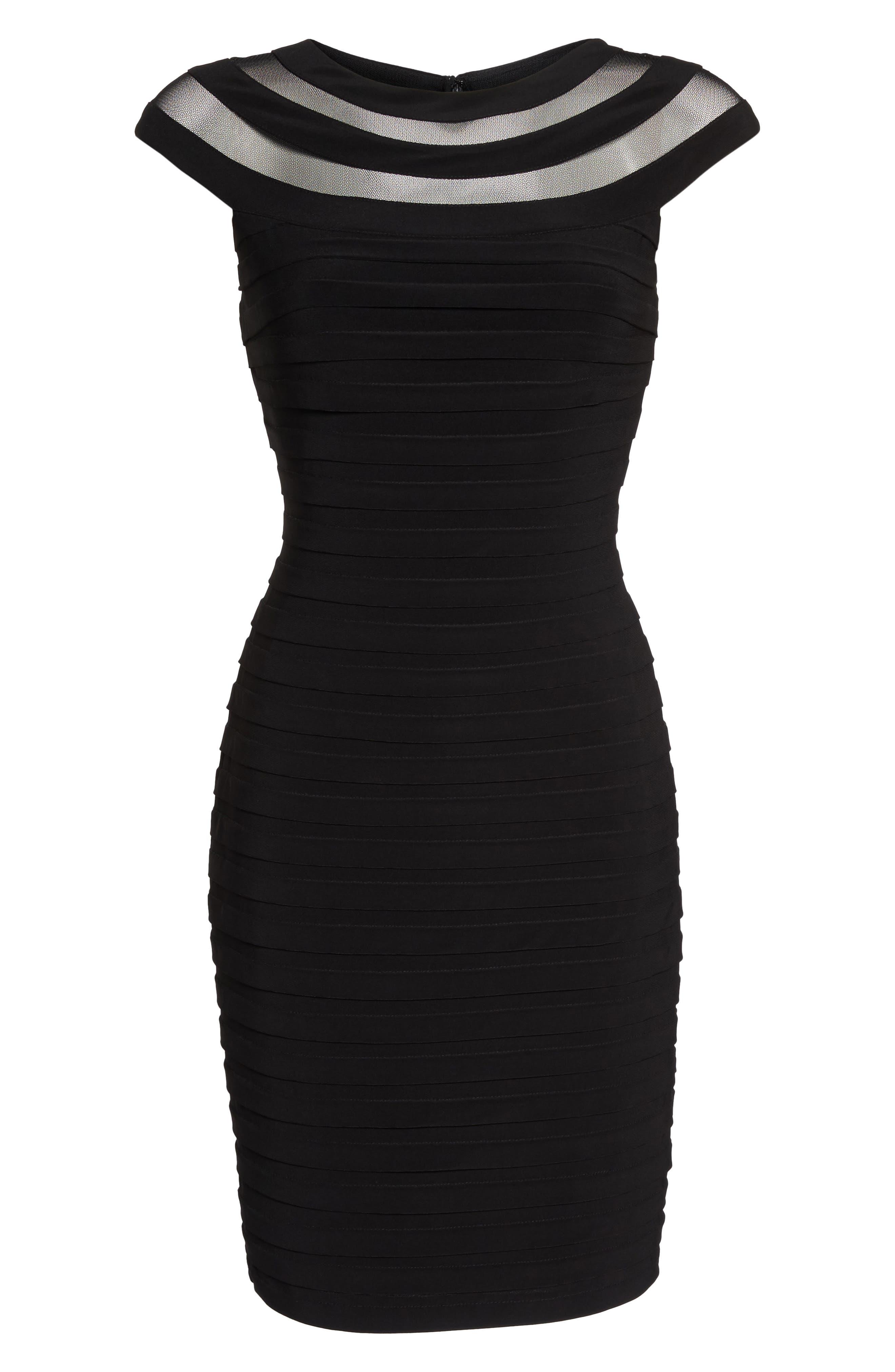 Banded Jersey Sheath Dress,                             Alternate thumbnail 6, color,                             002