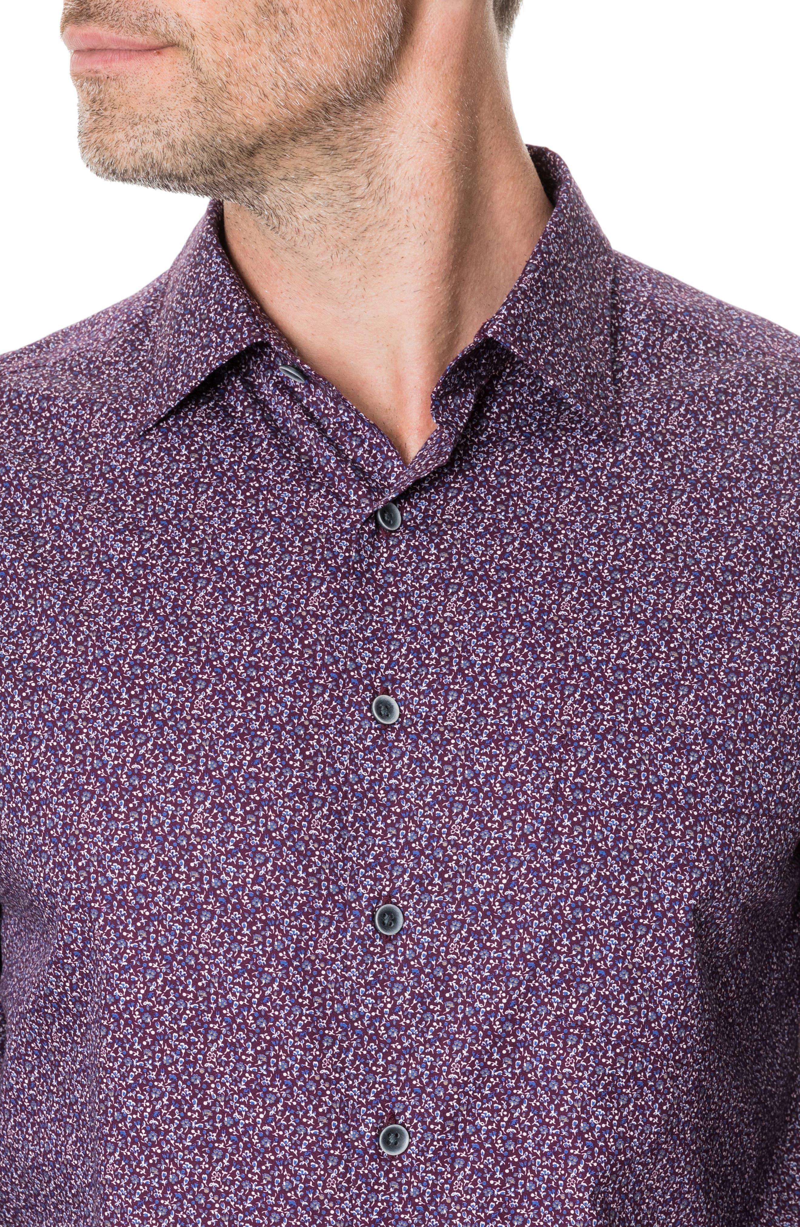 Scotland Street Regular Fit Floral Sport Shirt,                             Alternate thumbnail 2, color,                             PLUM PURPLE