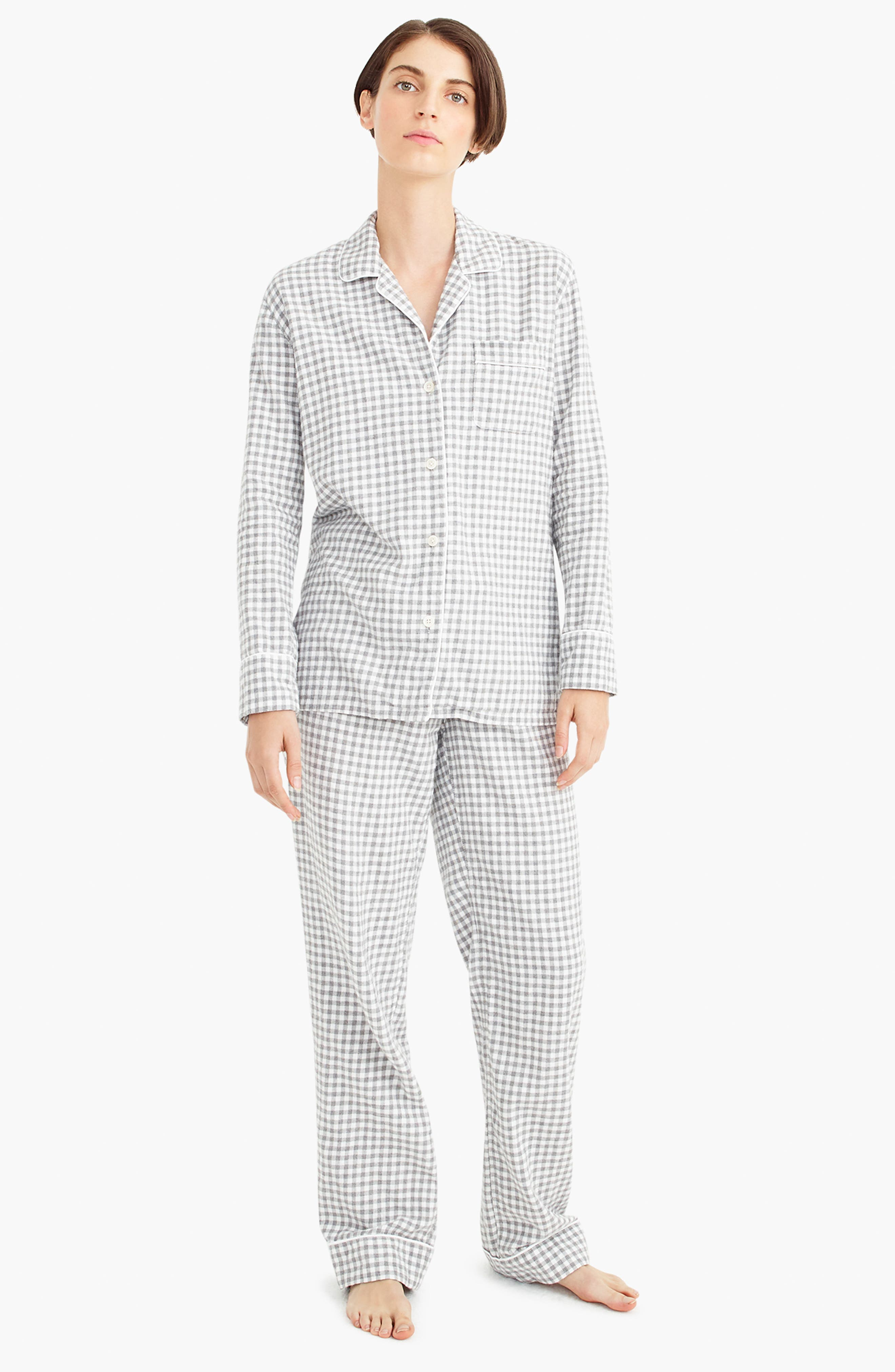 Gingham Flannel Pajamas,                             Alternate thumbnail 6, color,                             090