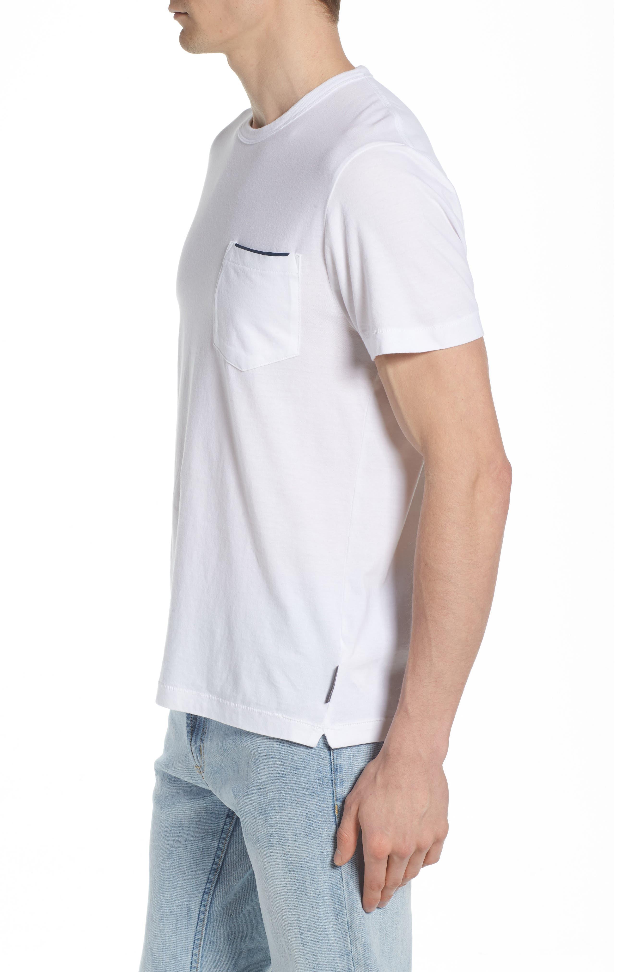 Crewneck Pocket T-Shirt,                             Alternate thumbnail 3, color,                             WHITE