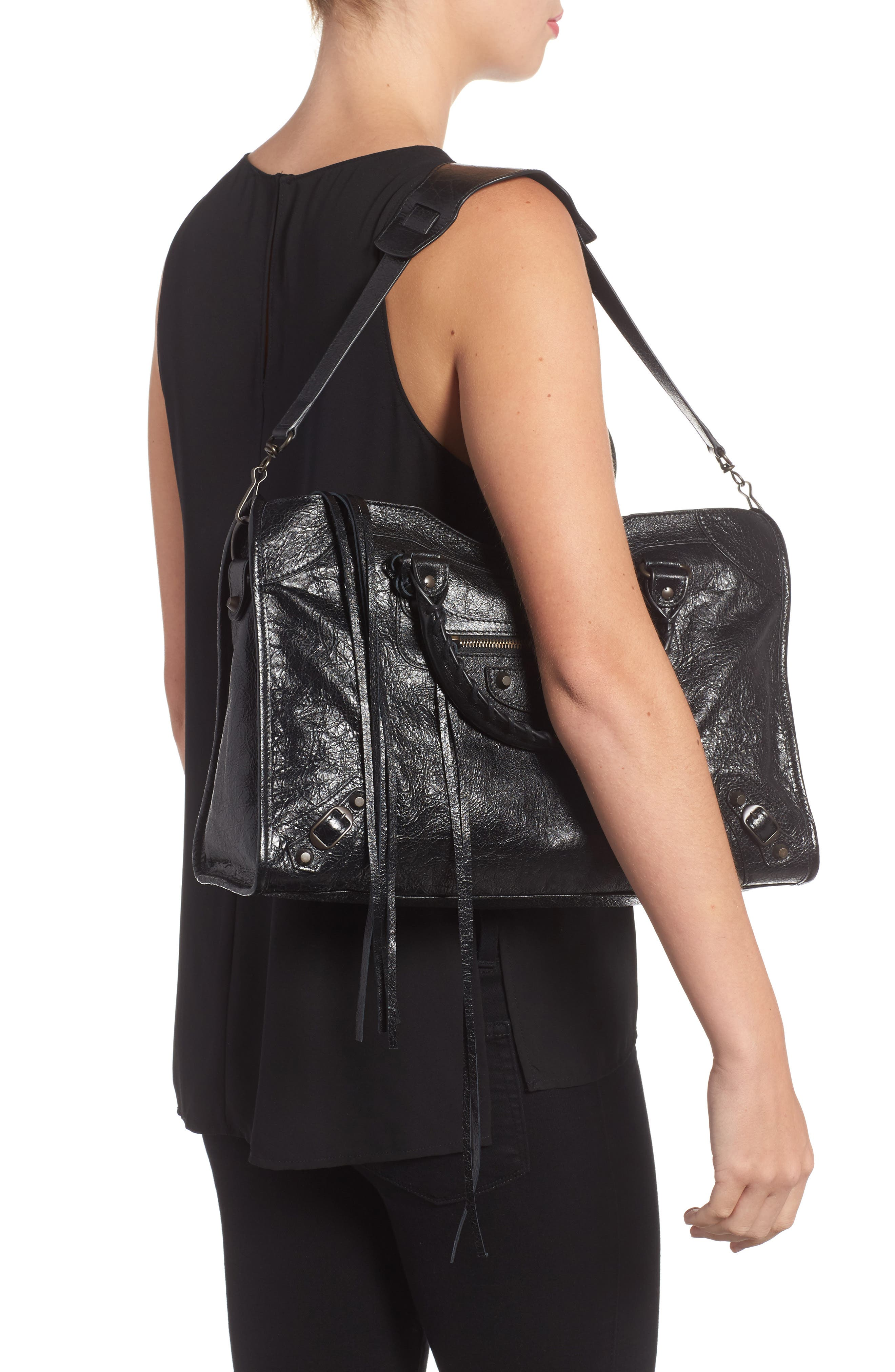 Classic City Leather Tote,                             Alternate thumbnail 2, color,                             001