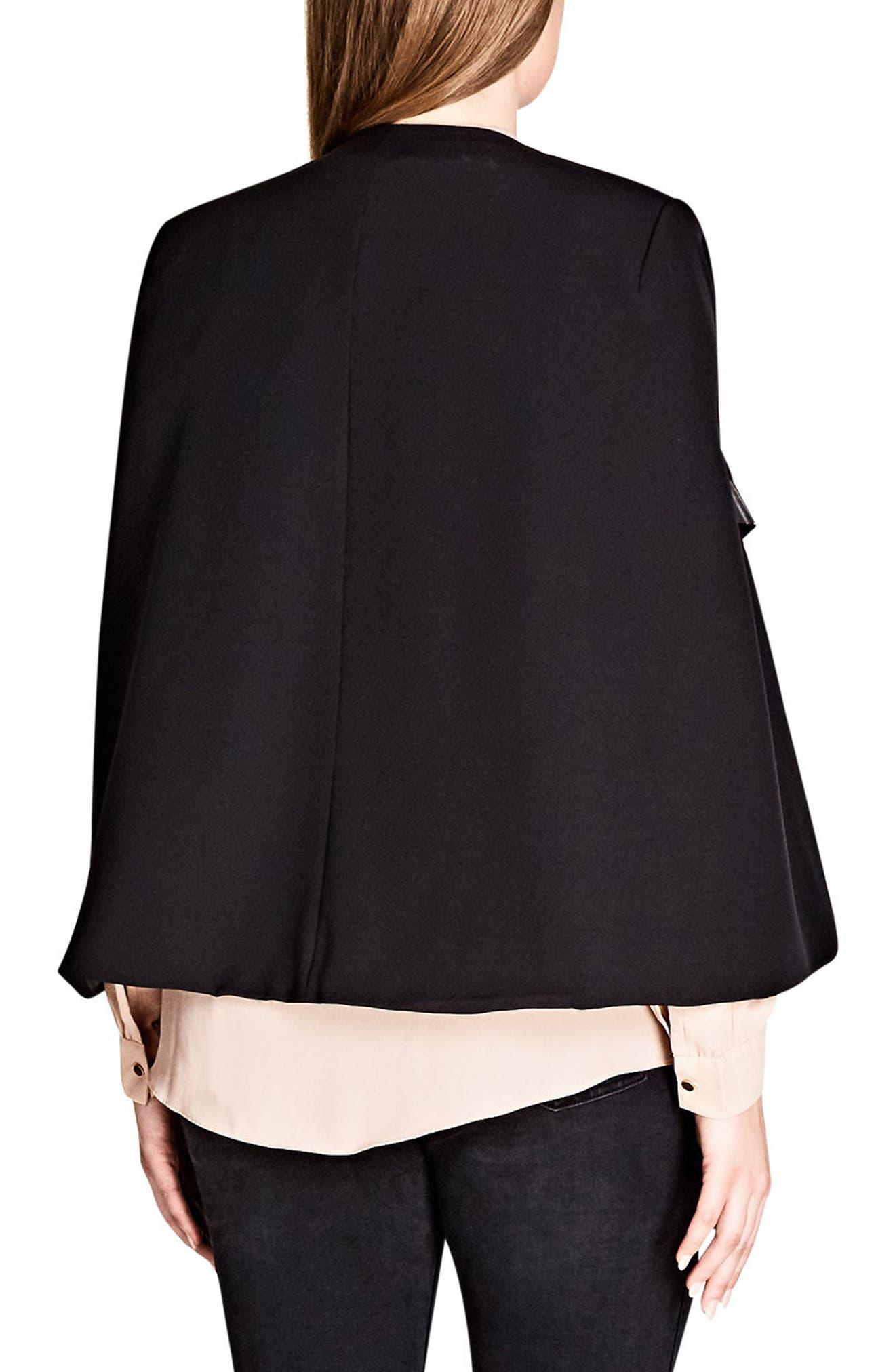 Jacket Sharp Cape,                             Alternate thumbnail 2, color,                             BLACK