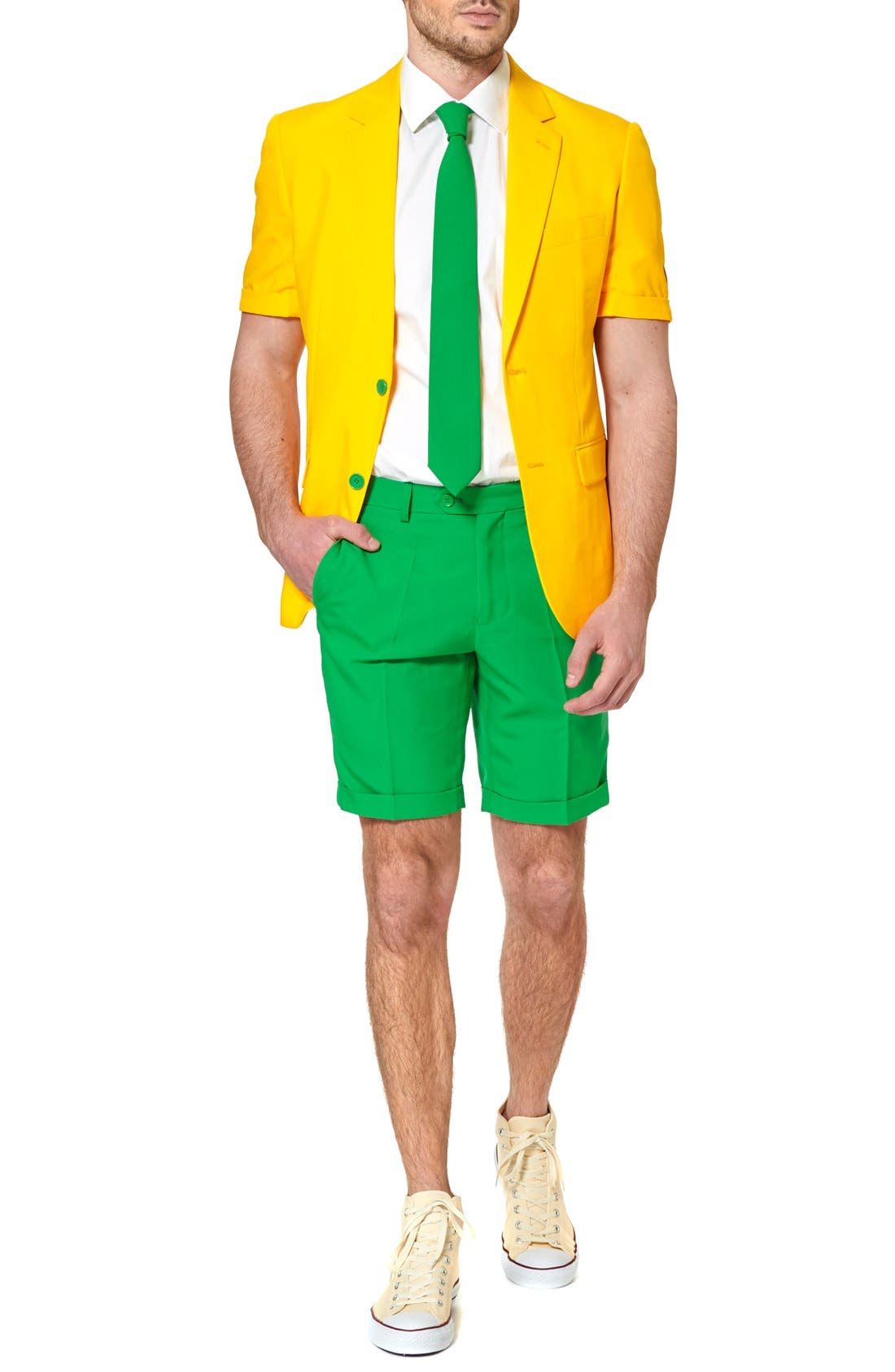 'Summer Green & Gold' Trim Fit Short Suit with Tie,                         Main,                         color,