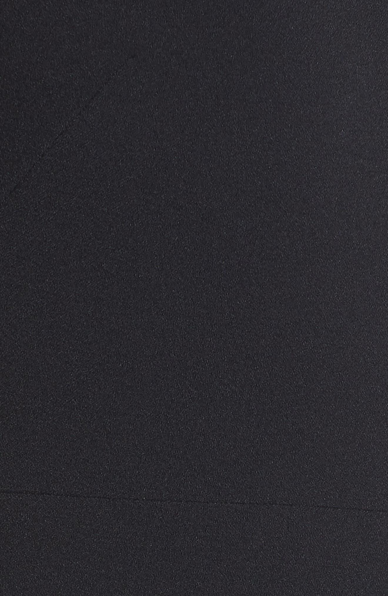 One-Shoulder Ruffle Crepe Jumpsuit,                             Alternate thumbnail 6, color,                             BLACK
