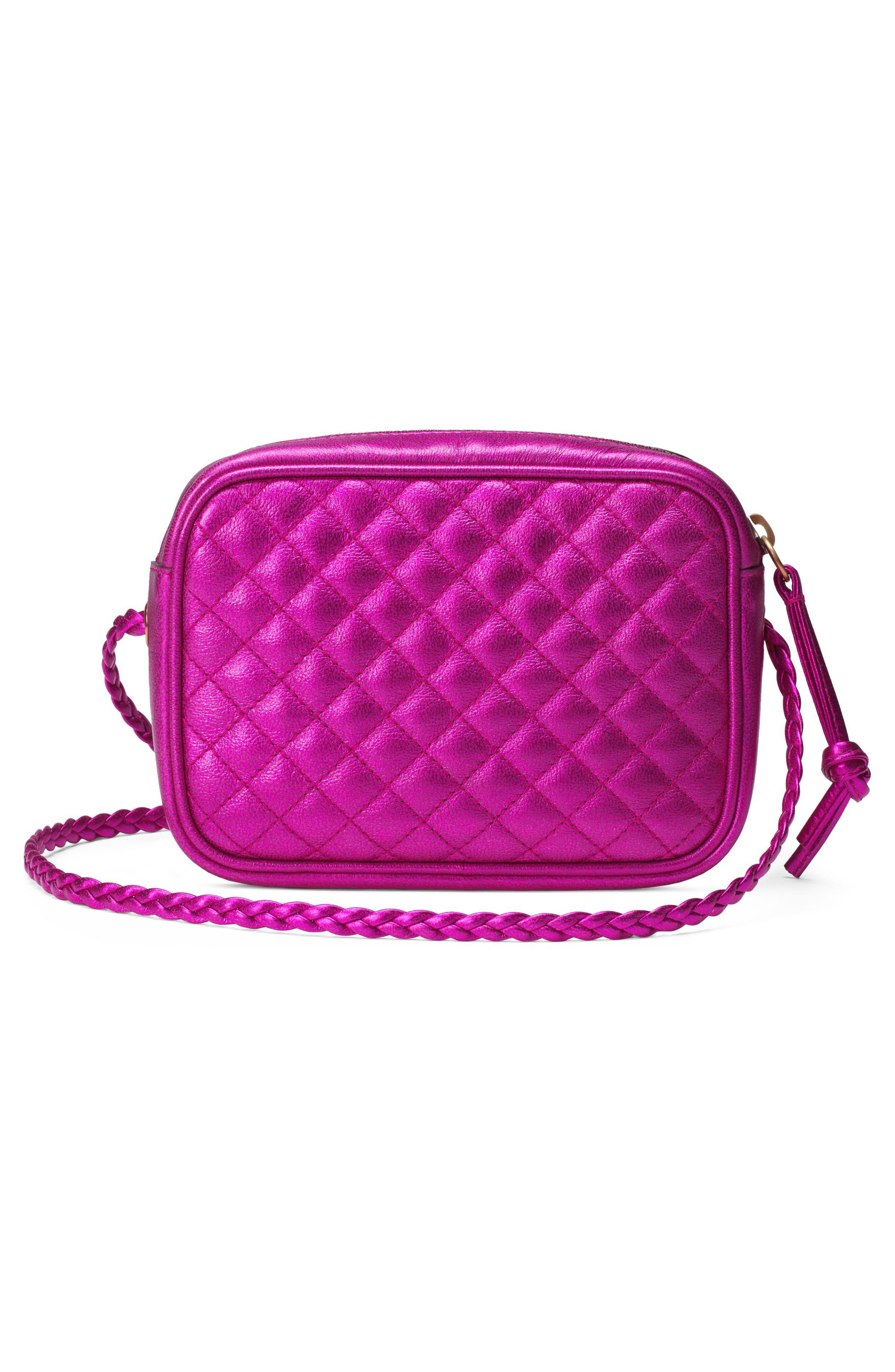 Quilted Metallic Leather Camera Bag,                             Alternate thumbnail 2, color,                             FUXIA