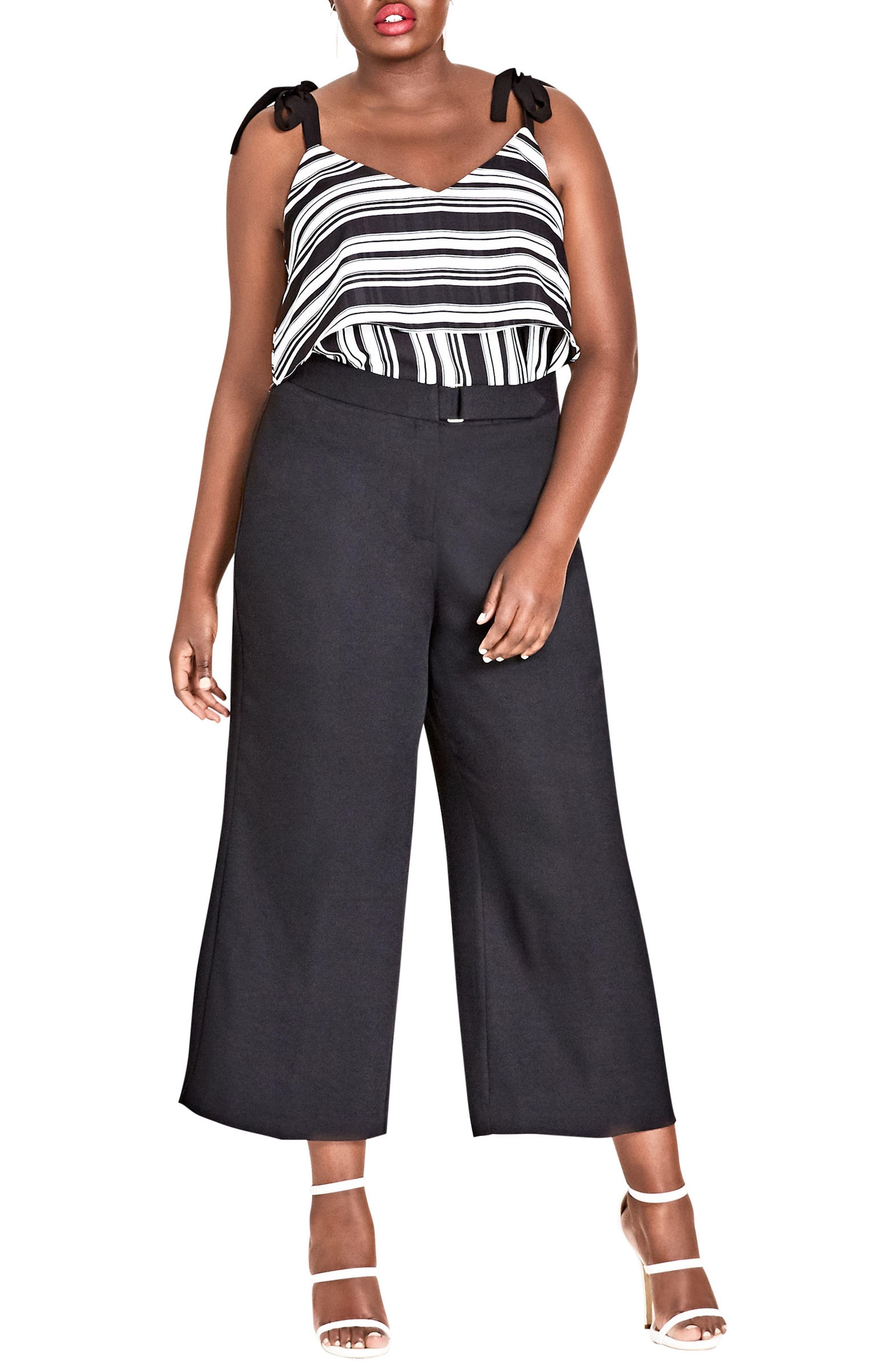 Elegant Belted Culottes,                             Alternate thumbnail 8, color,                             BLACK