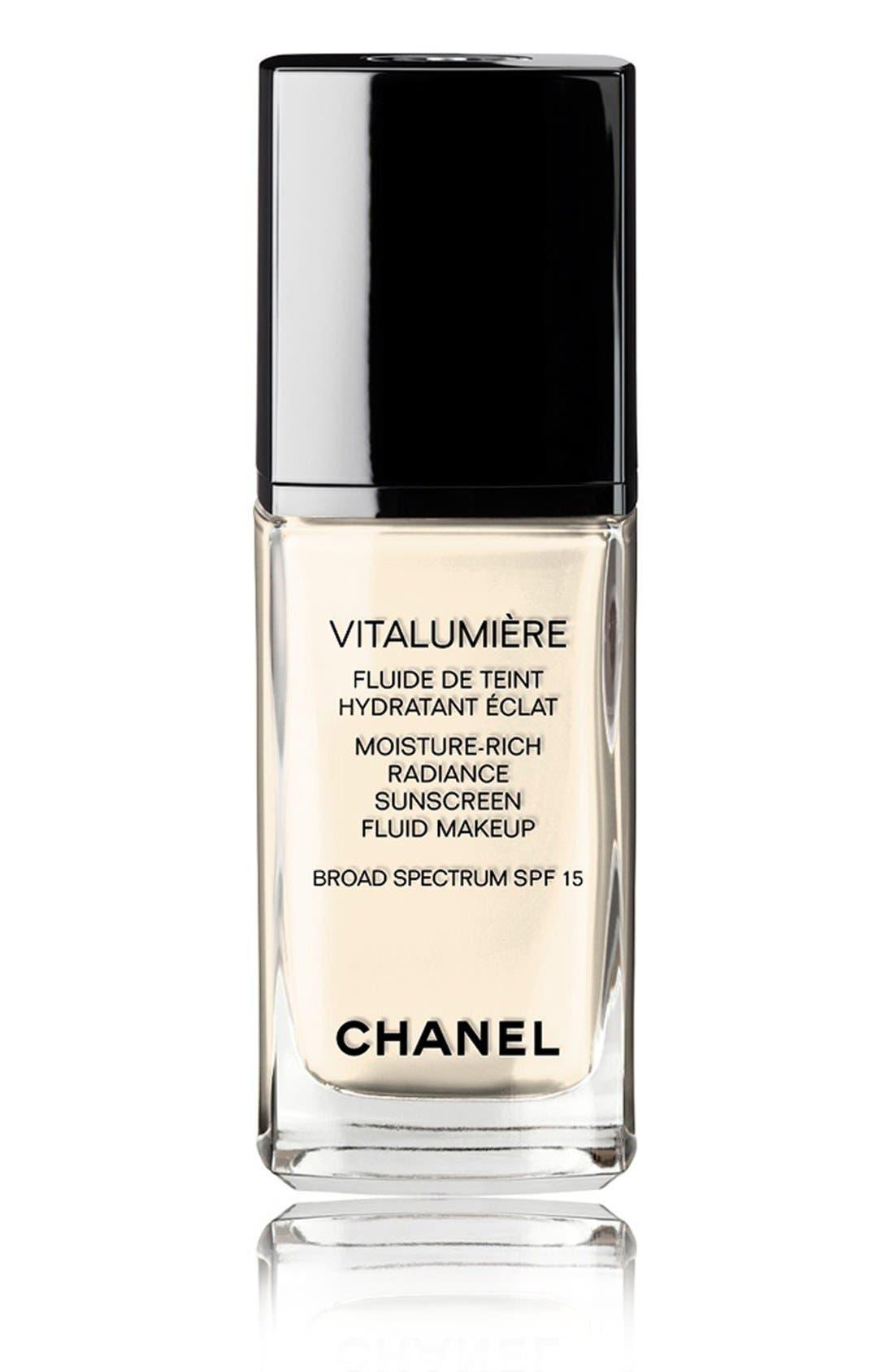 VITALUMIÈRE<br />Moisture-Rich Radiance Sunscreen Fluid Makeup Broad Spectrum SPF 15,                             Main thumbnail 1, color,                             07 IVOIRE