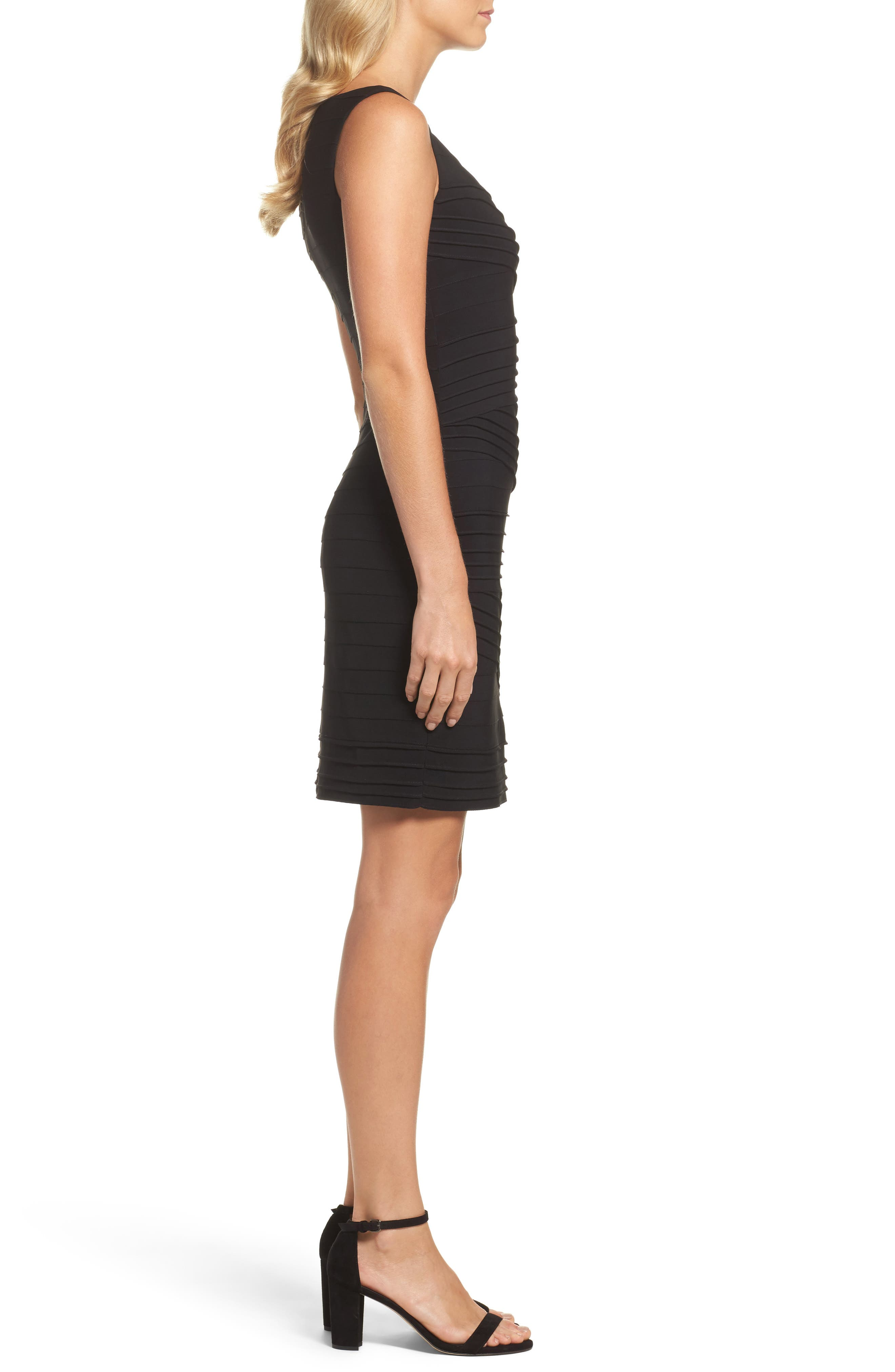 Banded Body-Con Dress,                             Alternate thumbnail 3, color,                             002